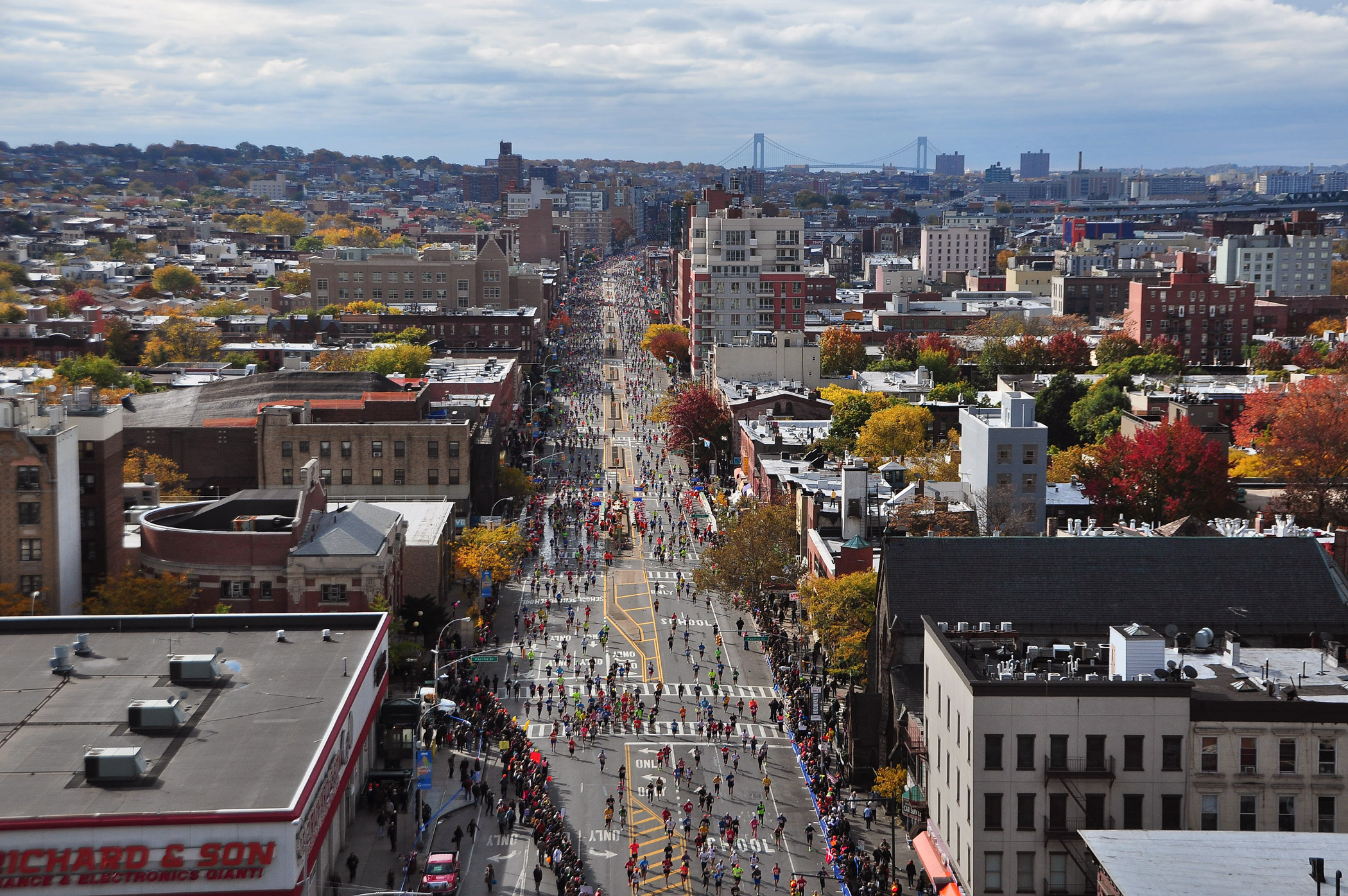 A view of competitors in the 2013 New York City Marathon from 4th Avenue in New York's Brooklyn borough.