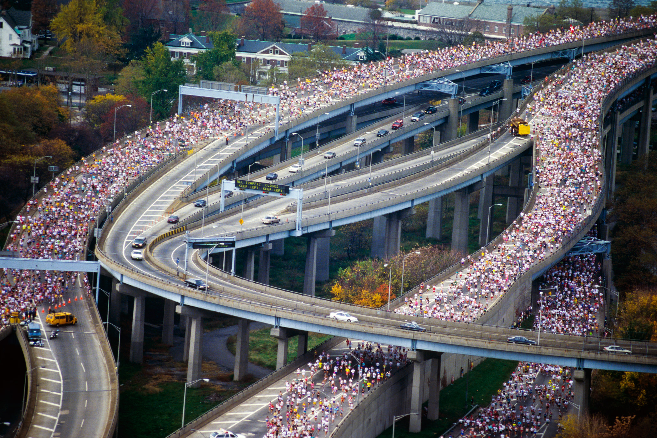 An aerial view of runners in the 1994 New York City Marathon.