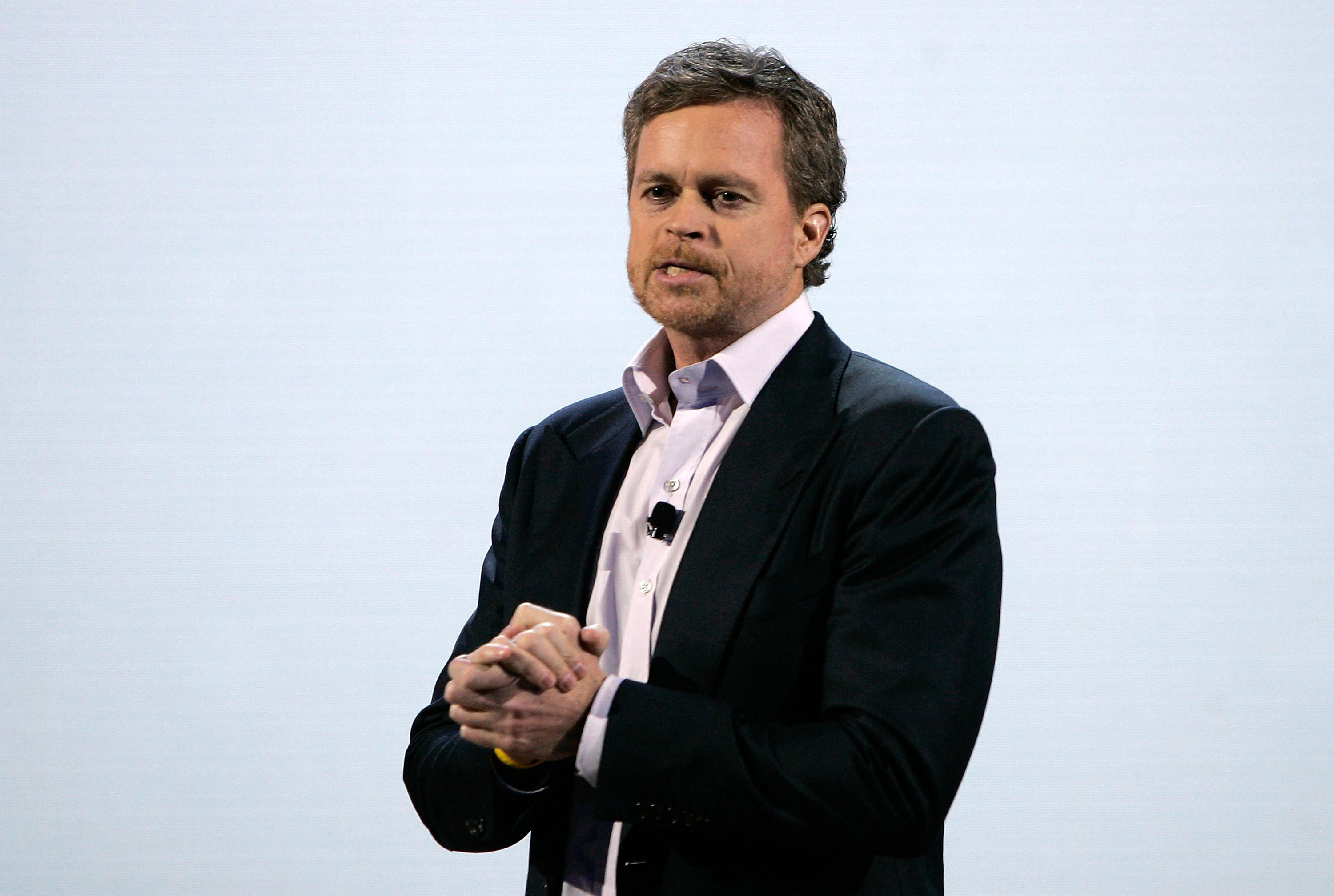 Mark Parker speaks as Nike introduces new basketball and training technology in New York City on Feb. 22, 2012.