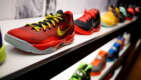 Nike sneakers on display.