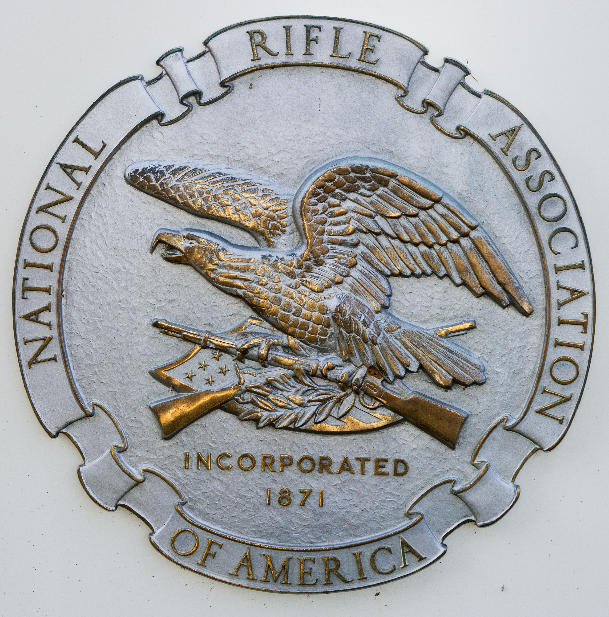 The National Rifle Association logo is seen at its headquarters in Fairfax, Va., on March 14, 2013.
