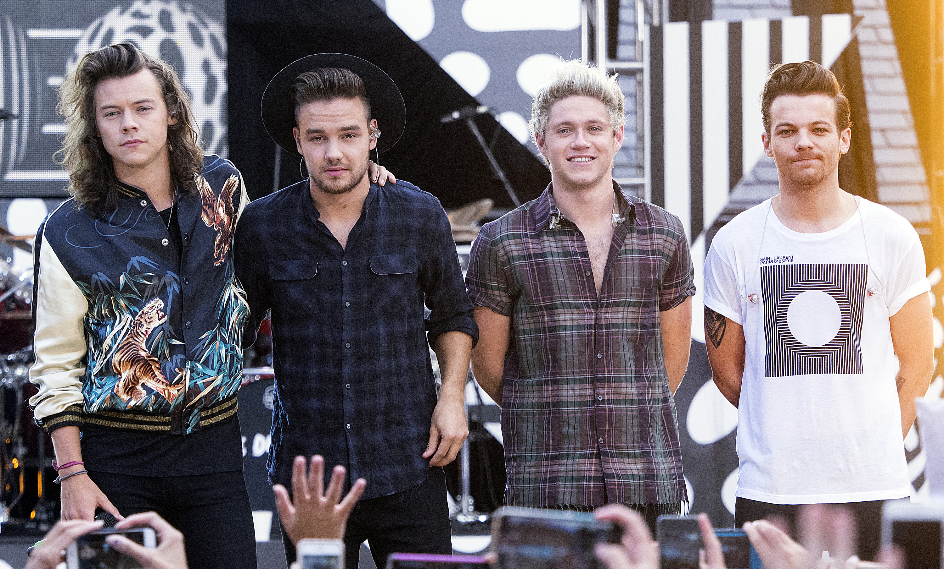 (L-R) Harry Styles, Liam Payne, Niall Horan and Louis Tomlinson of One Direction perform on  Good Morning America's Summer Concert Series  in New York City on Aug. 4, 2015.