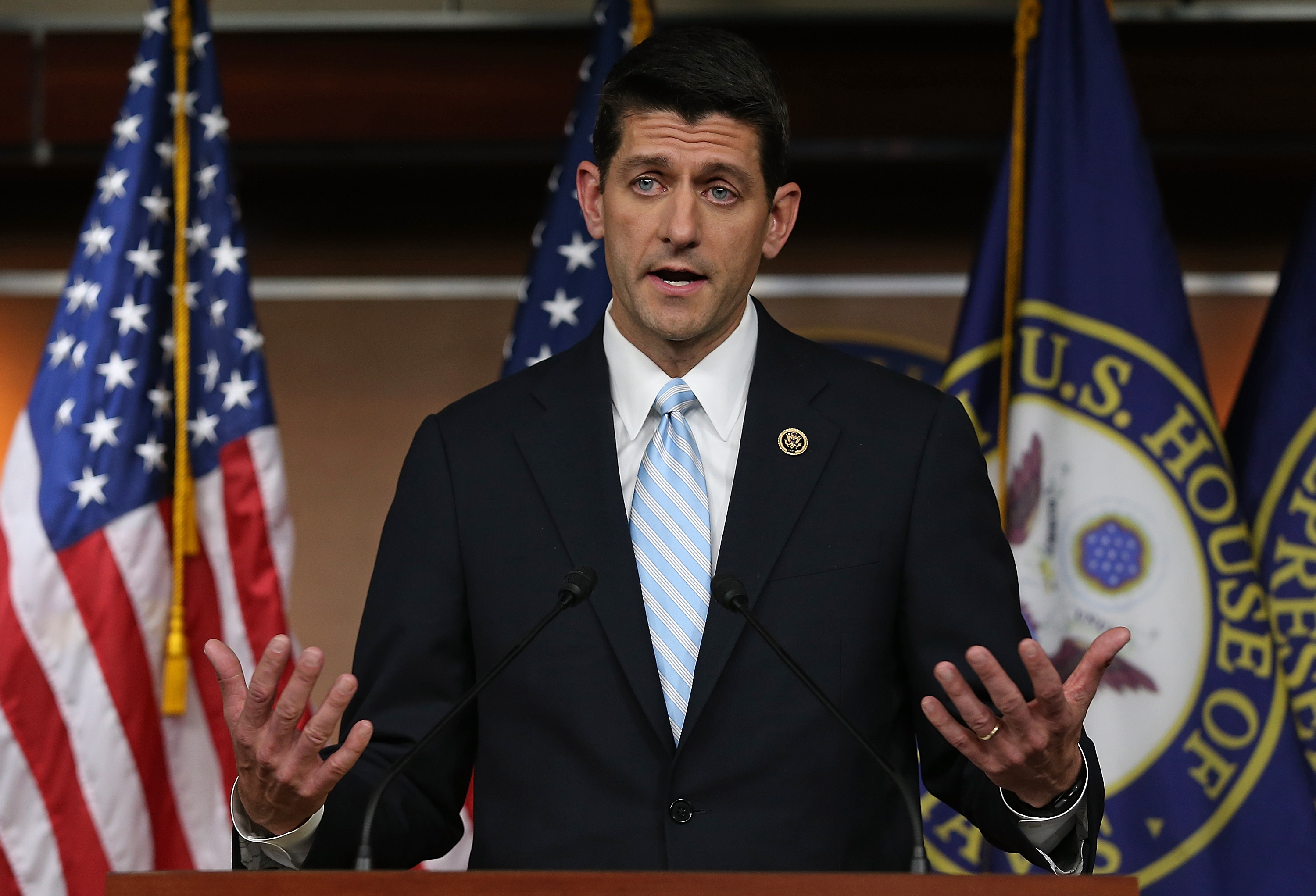 Paul Ryan speaks following a meeting of House Republicans at the U.S. Capitol on Oct. 20, 2015 in Washington, D.C.