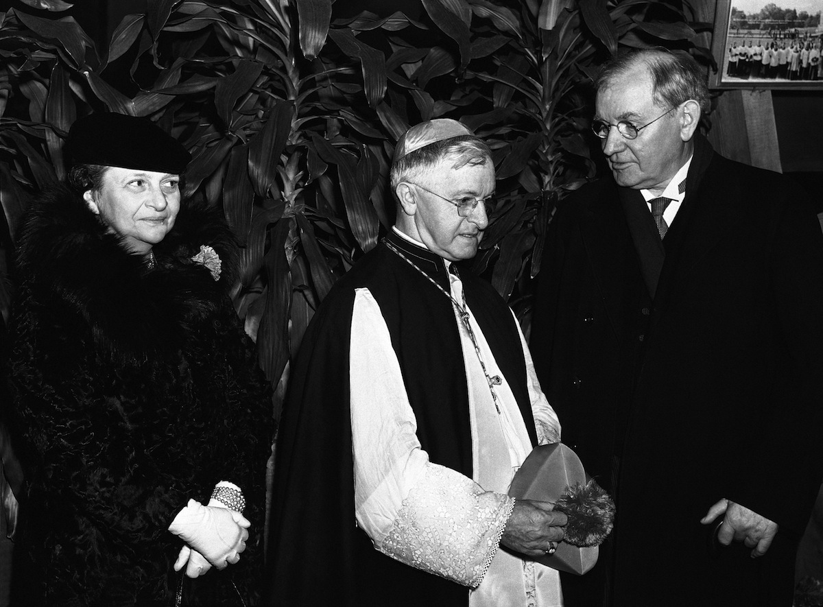 A Red Mass was celebrated Jan. 9, 1939 at the national shrine of the immaculate conception at Catholic University in Washington. Shown with the most Rev. John T. McNicholas, center, archbishop of Cincinnati, who delivered the sermon, are justice Pierce Butler, right, of the Supreme Court, and labor secretary Frances Perkins.