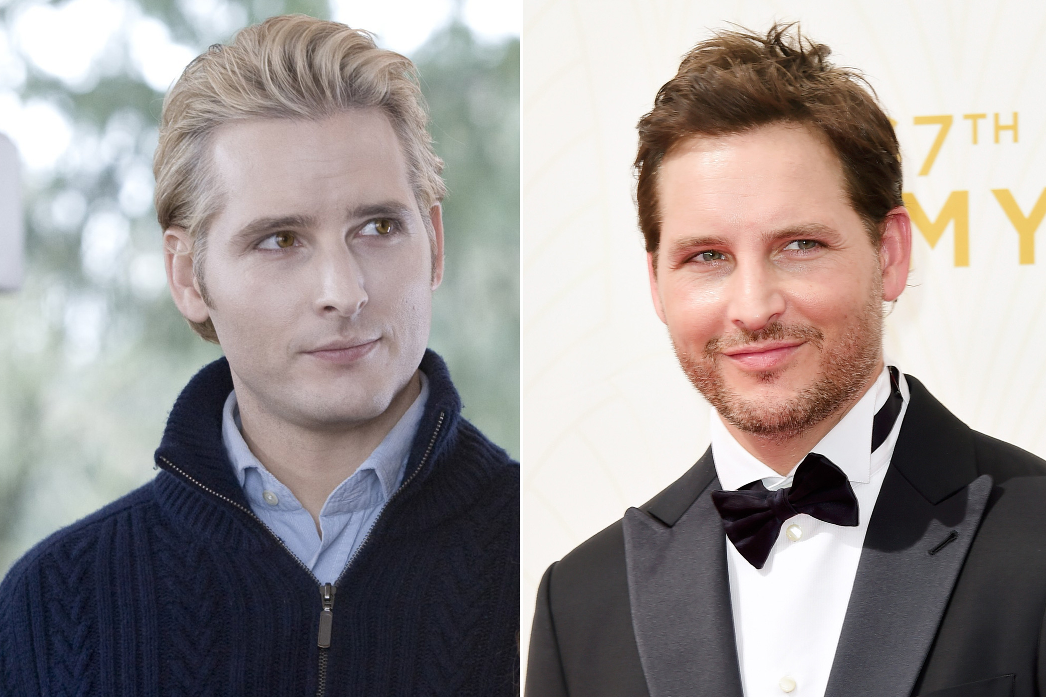 Left: Peter Facinelli as Dr. Carlisle Cullen in Twilight, 2008; Right: in 2015