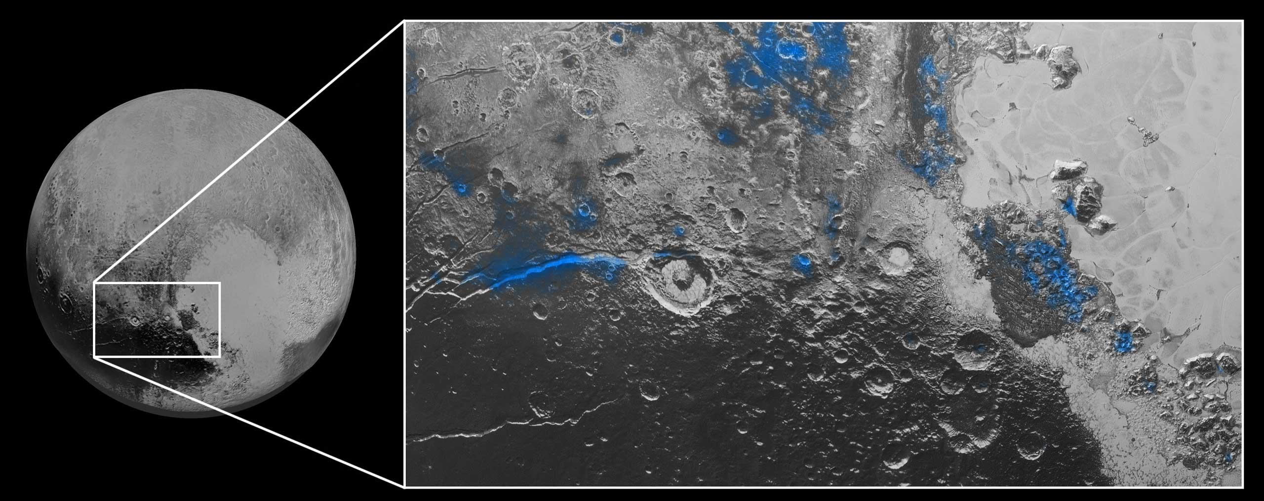 Regions with exposed water ice are highlighted in blue in this composite image from New Horizons' Ralph instrument, combining visible imagery from the Multispectral Visible Imaging Camera (MVIC) with infrared spectroscopy from the Linear Etalon Imaging Spectral Array (LEISA), Oct. 8, 2015.