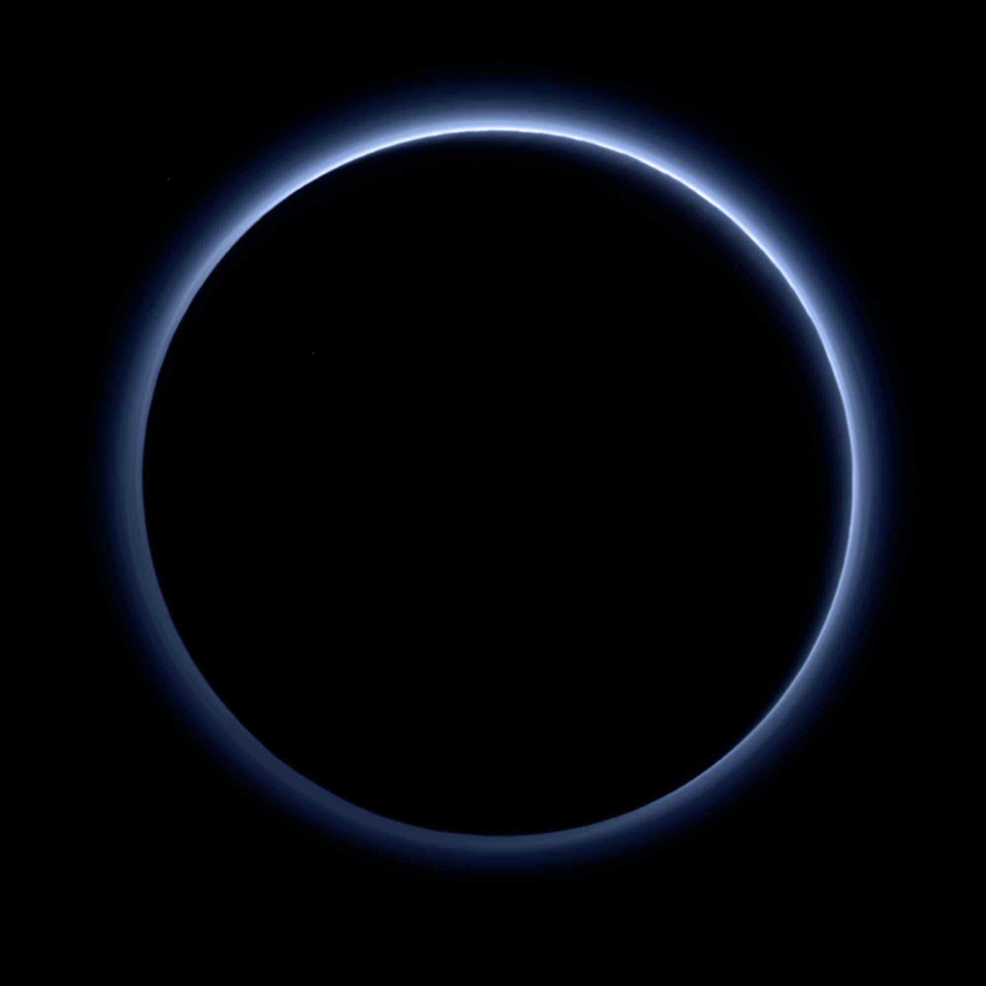 Pluto's haze layer shows its blue color in this picture taken by the New Horizons Ralph/Multispectral Visible Imaging Camera (MVIC), Oct. 8, 2015.