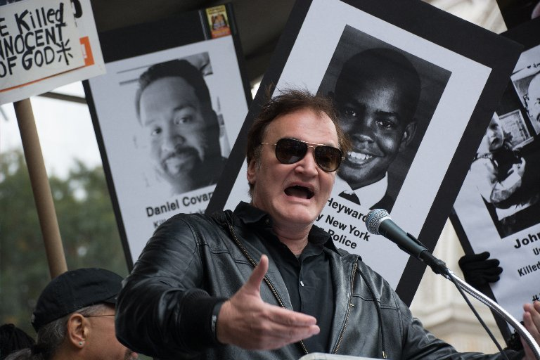 Quentin Tarantino speaks at a rally against police brutality at Washington Square Park in New York's Manhattan borough on Oct. 24, 2015.