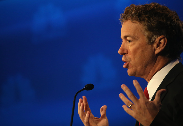 Presidential candidate Rand Paul speaks during the CNBC Republican Presidential Debate at University of Colorados Coors Events Center October 28, 2015 in Boulder, Colorado.