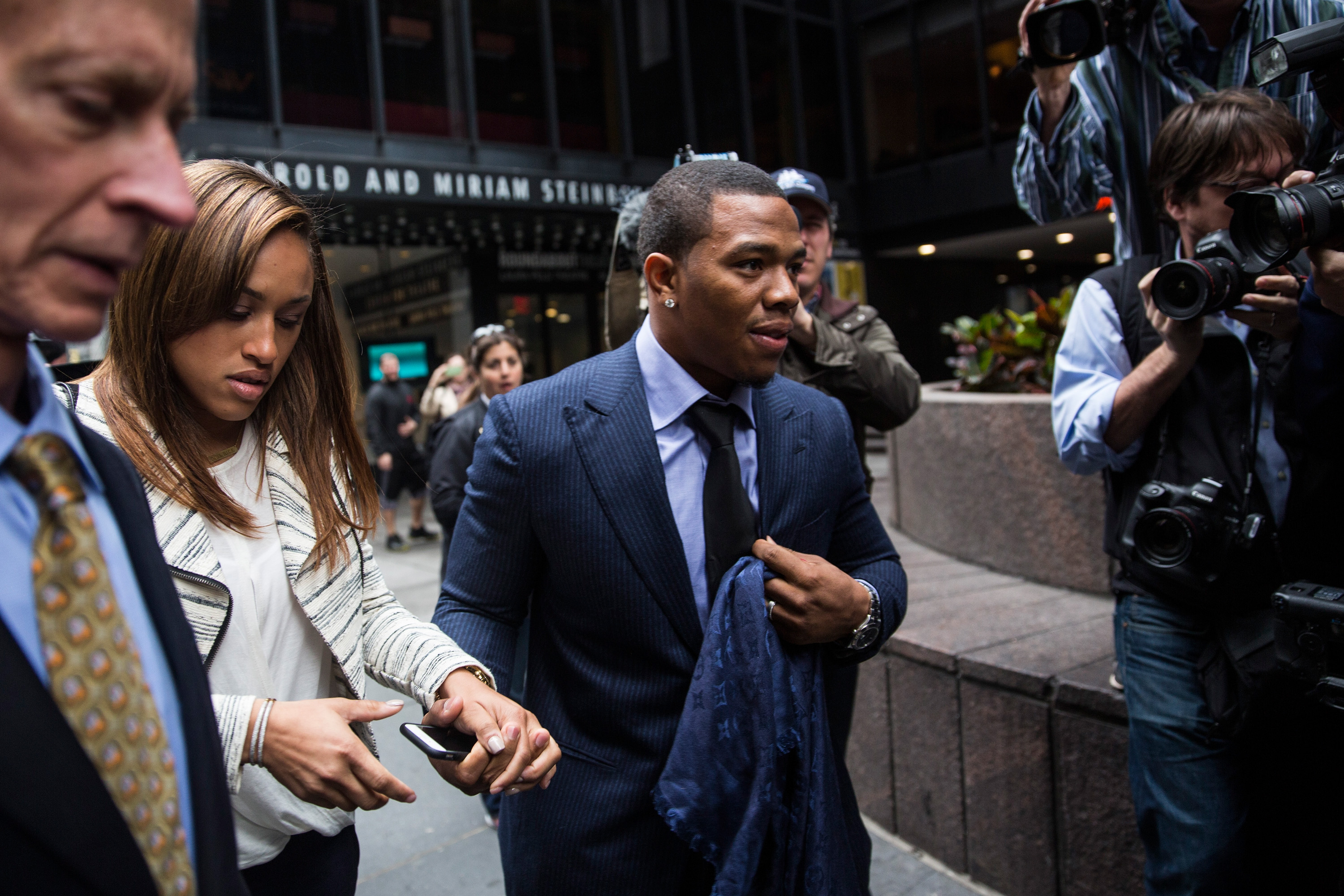 Suspended Baltimore Ravens football player Ray Rice and his wife Janay Palmer arrive for a hearing on Nov. 5, 2014 in New York City.