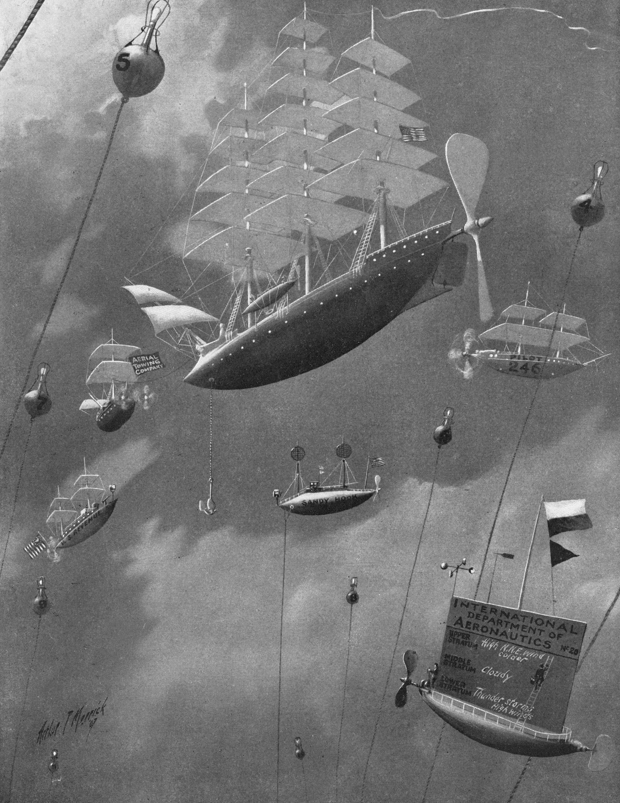 19th Century Illustration depicting  futuristic airships and hot air balloons, entitled 'New York Sky Harbor.