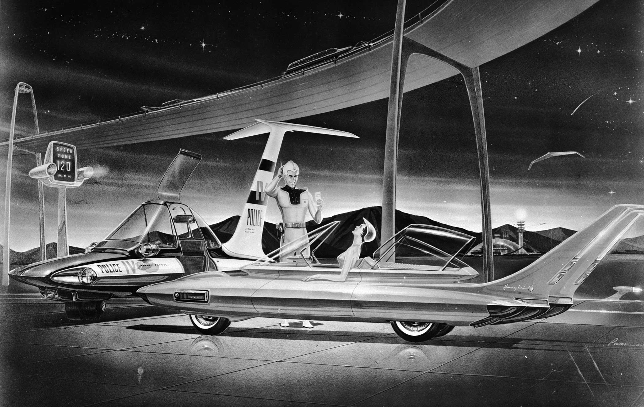 An artist's impression of the future circa 1958 of the automobile: a vehicle that easily draws the attention of the police for exceeding the 120mph speed limit.