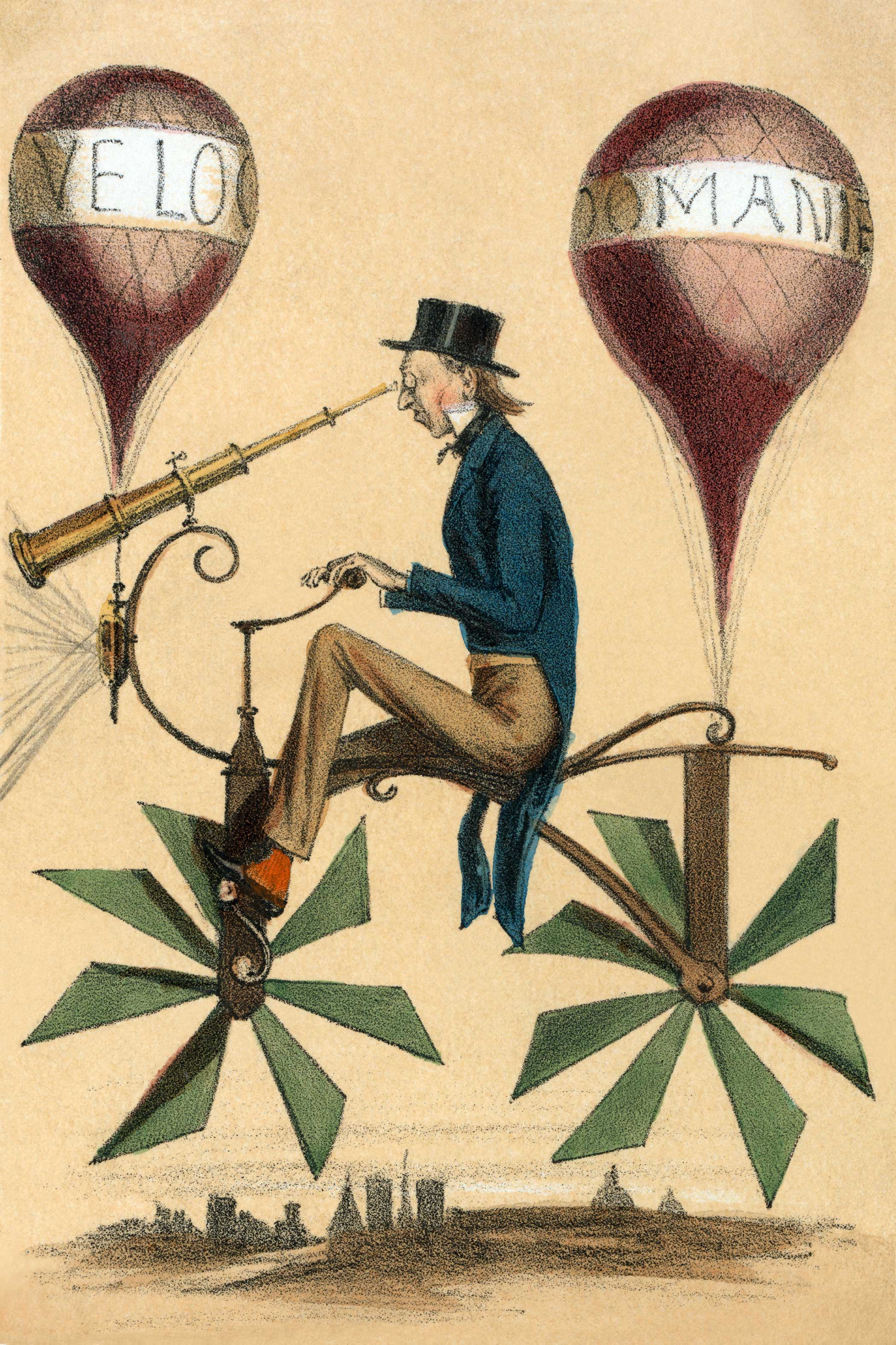 """French cartoon shows a man riding on a bicycle-like flying machine while looking through a telescope attached to the front circa 1867. Two balloons, """"Velocipedes"""" and """"Domanie,"""" are attached at front and rear as are propeller-like wheels."""