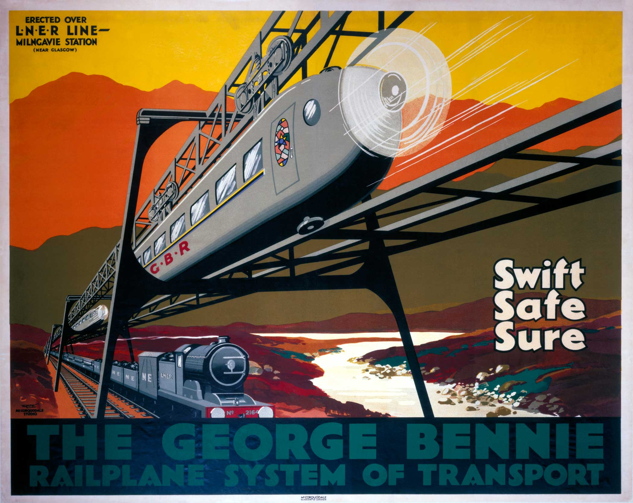 The George Bennie Railplane System, a suspended monorail for passengers set above the existing railway with a LNER locomotive traveling underneath. The project, funded by George Bennie, was set up at Burnbrae, near Milngavie, Scotland as an experiment. It was dismantled in 1956.