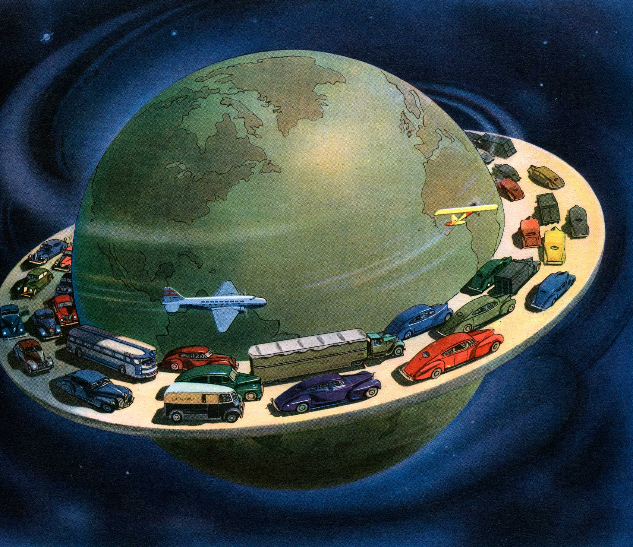 Vintage illustration of a globe surrounded by cars and planes driving on a highway around its circumference, 1941.