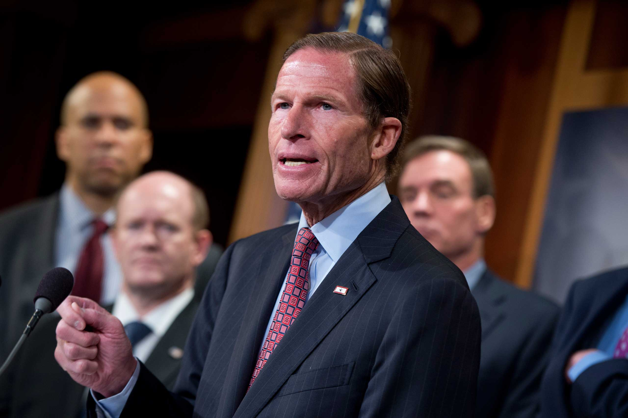 Sen. Richard Blumenthal, D-Conn., speaks during a news conference in the Capitol's Senate studio to introduce the Iran Policy Oversight Act of 2015, Oct. 1, 2015.