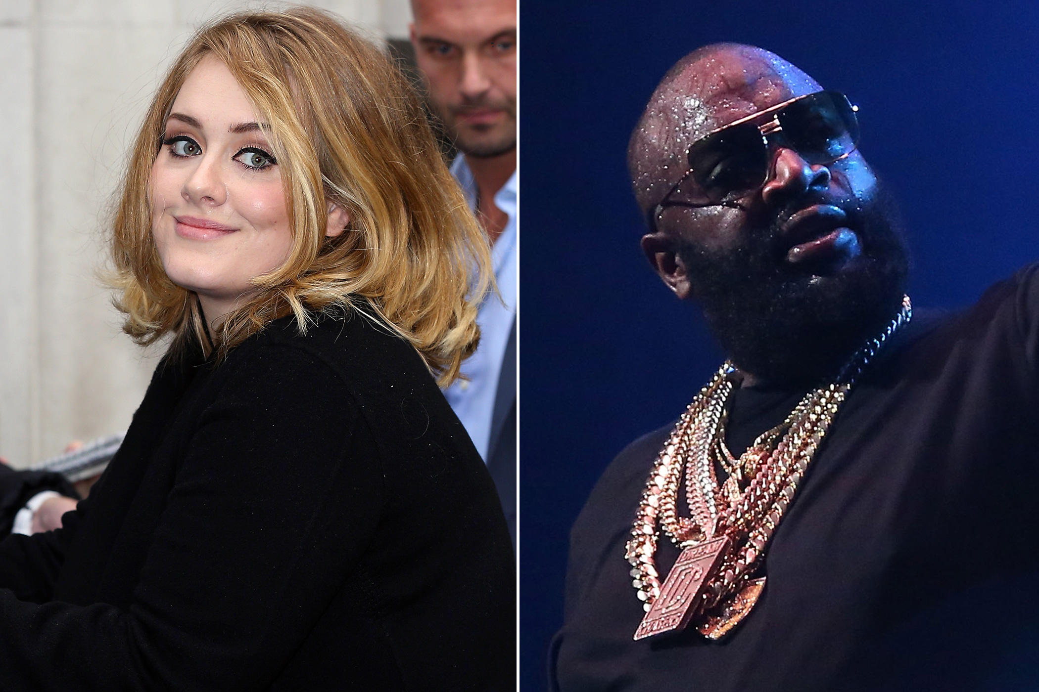 Left: Adele on Oct. 23, 2015 in London; Right:  Rick Ross on Oct. 22, 2015 in New York City.