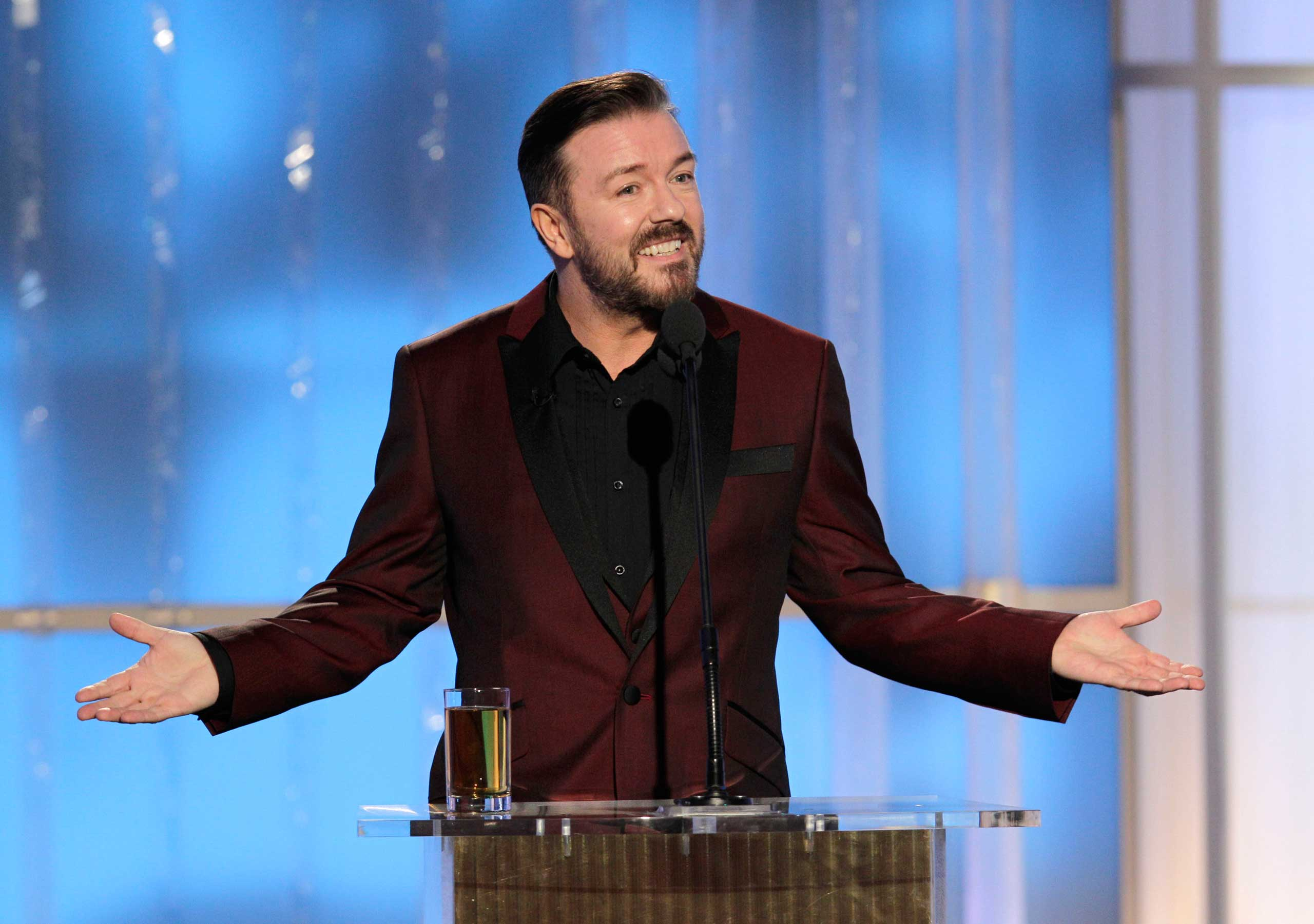 Ricky Gervais onstage during Golden Globe Awards in 2012.