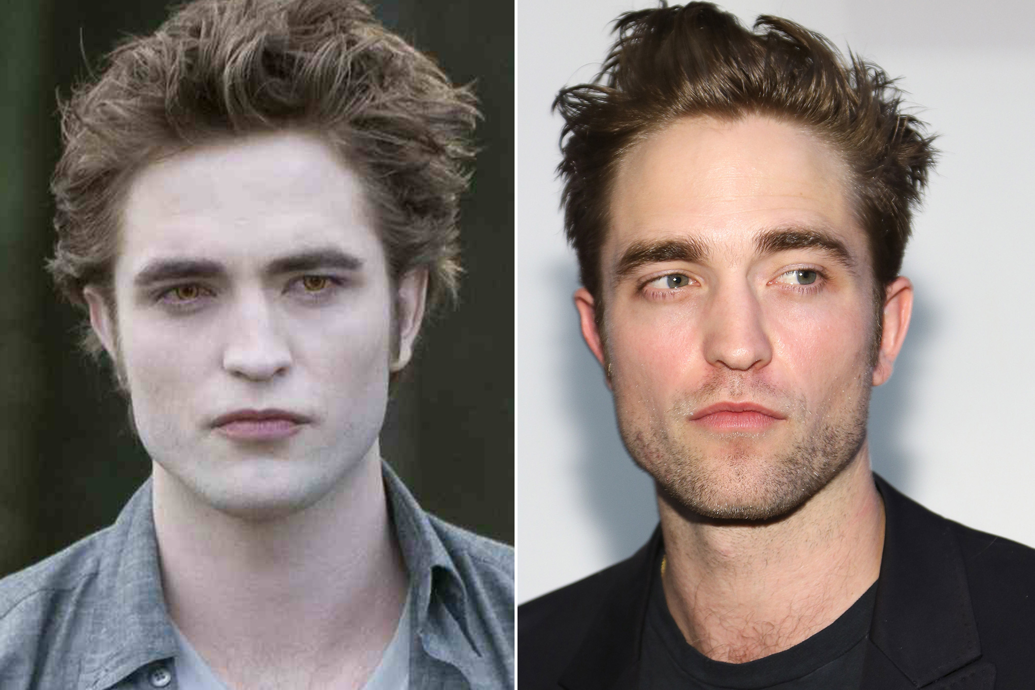 Left: Robert Pattinson as Edward Cullen in Twilight: The New Moon, 2009; Right: in 2015