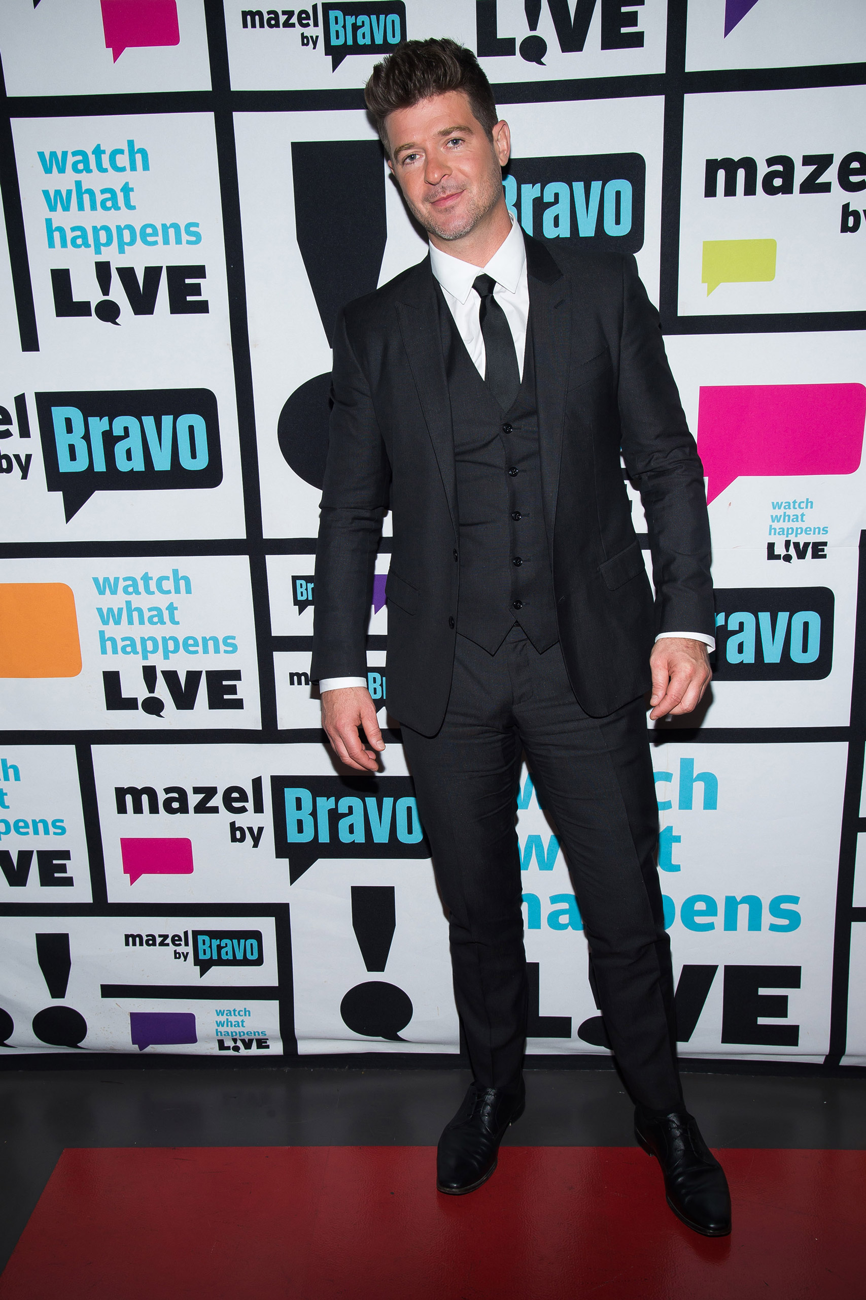Robin Thicke at  Watch What Happens Live  on Oct. 21, 2015.