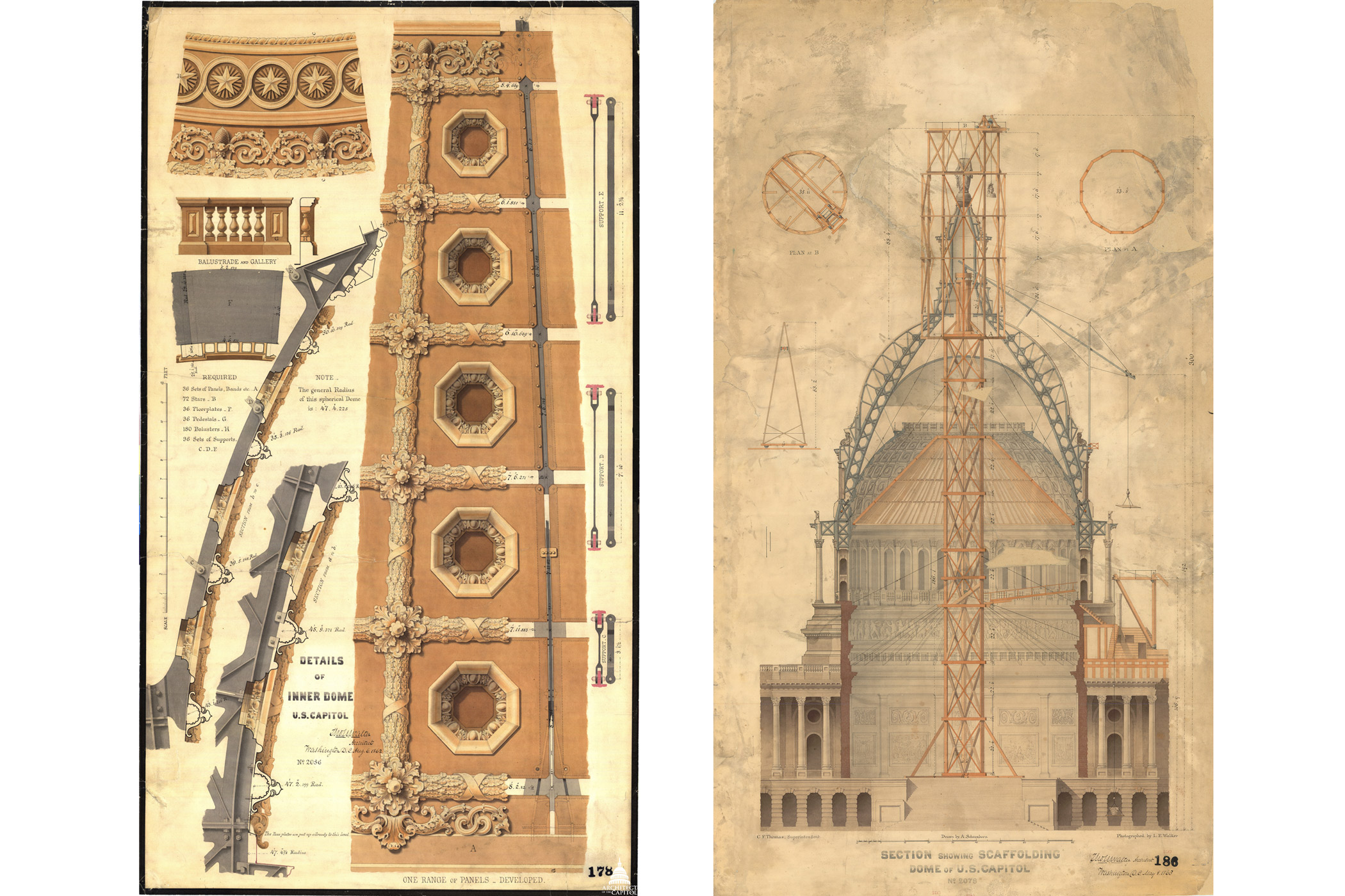 Drawings made in 1863 by the original architect of the Capitol Thomas U. Walter show the scaffolding plan for raising Statue of Freedom to top of dome (right) and details of rotunda coffers (left).