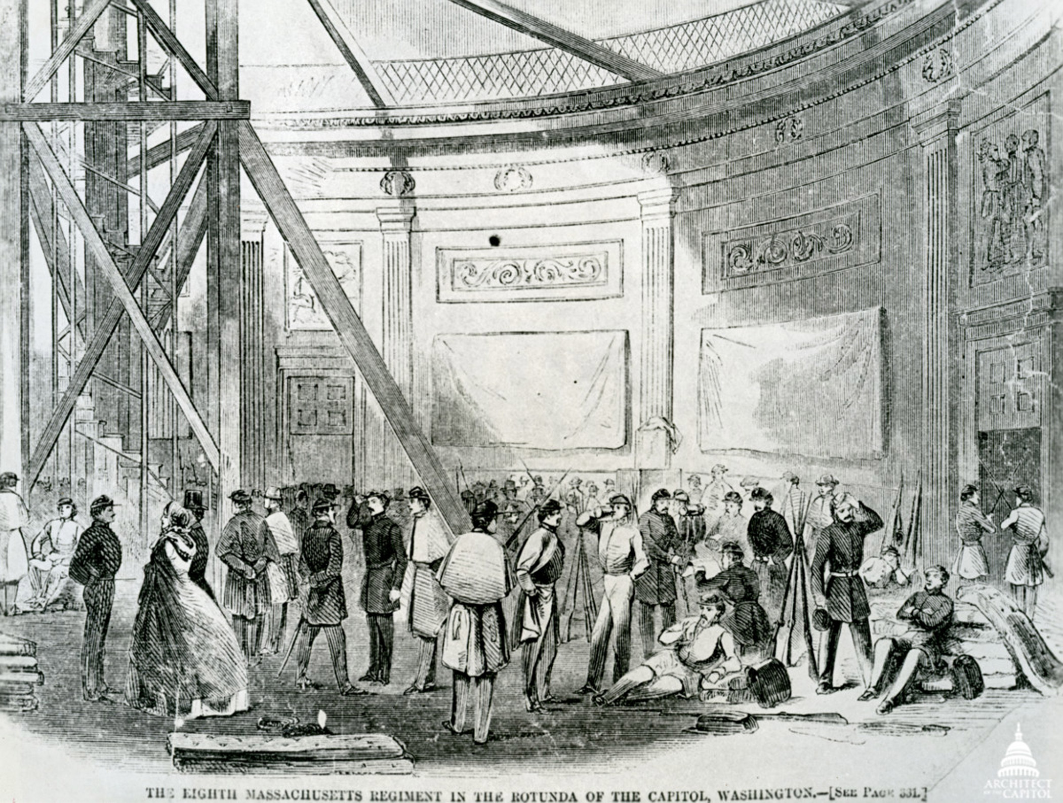 This image depicts Union troops in the rotunda with the scaffolding to build the new dome in 1861.