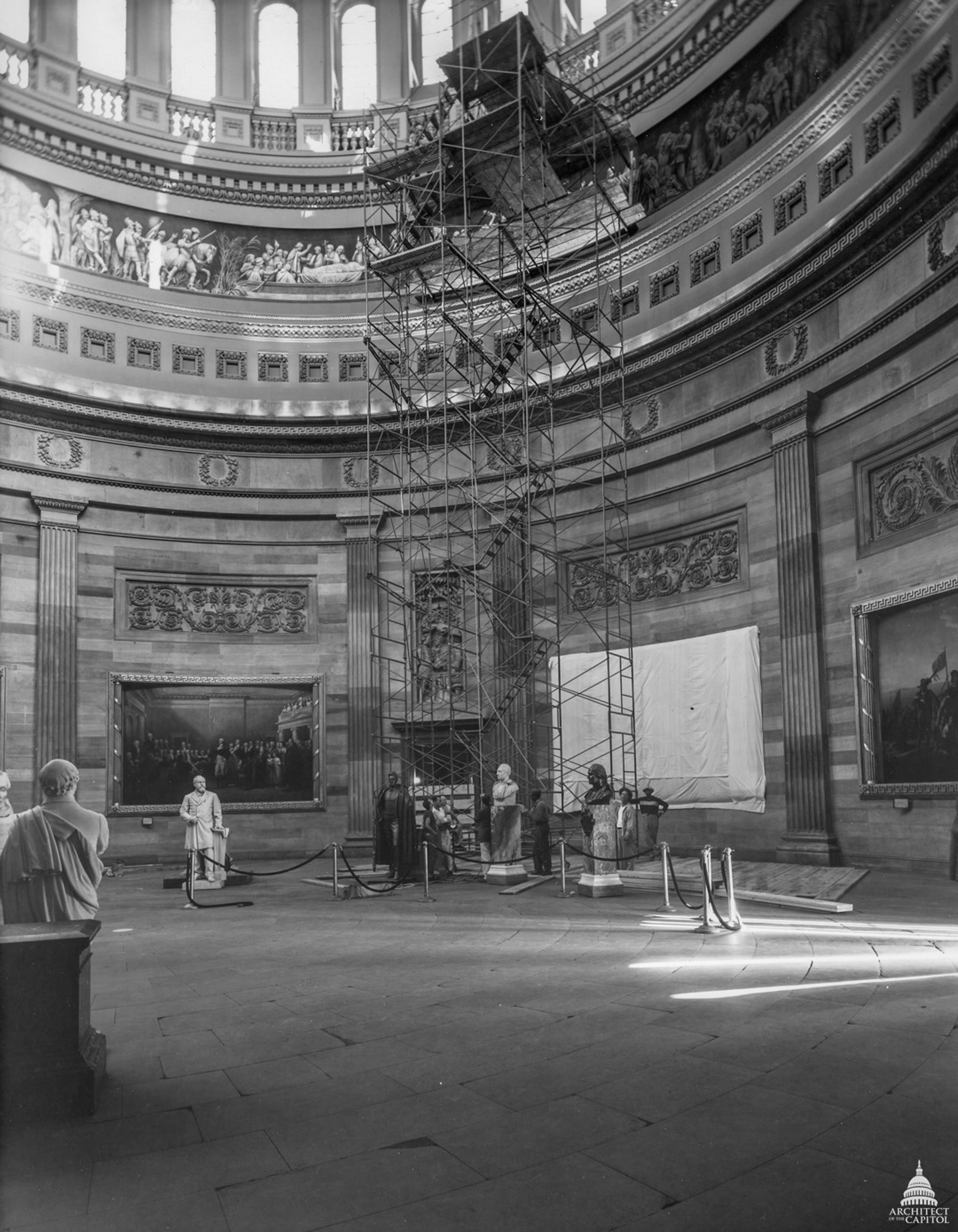 Moveable scaffolding was used to support workmen while cleaning the Frieze at the rotunda in 1953.