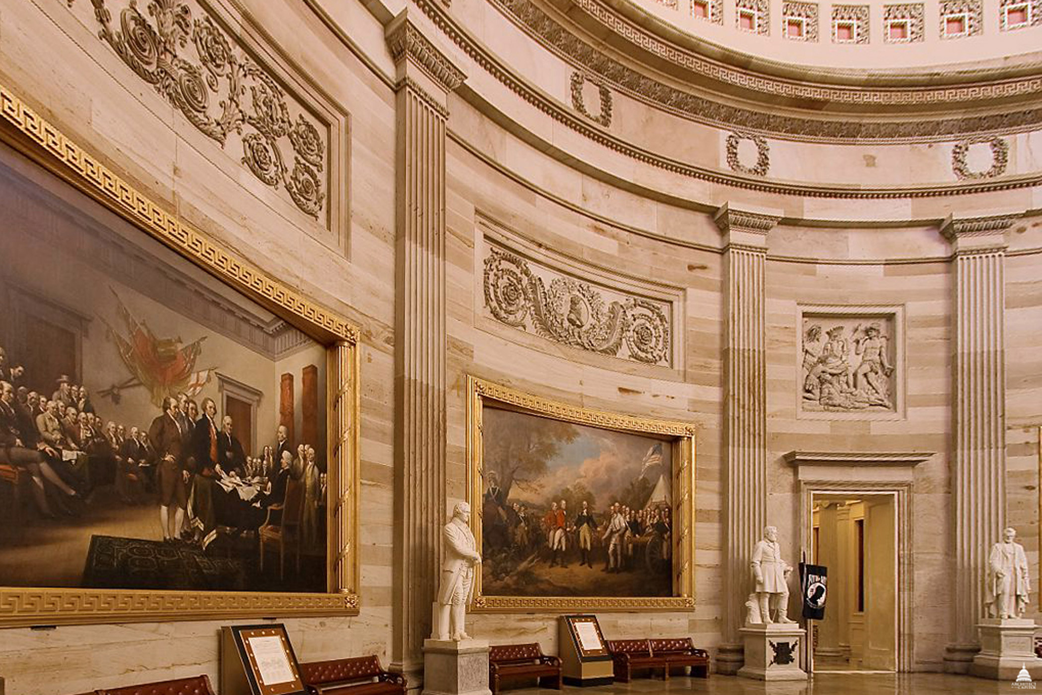 The sandstone walls of the U.S. Capitol Rotunda rise 48 feet above the floor, circa 2011.