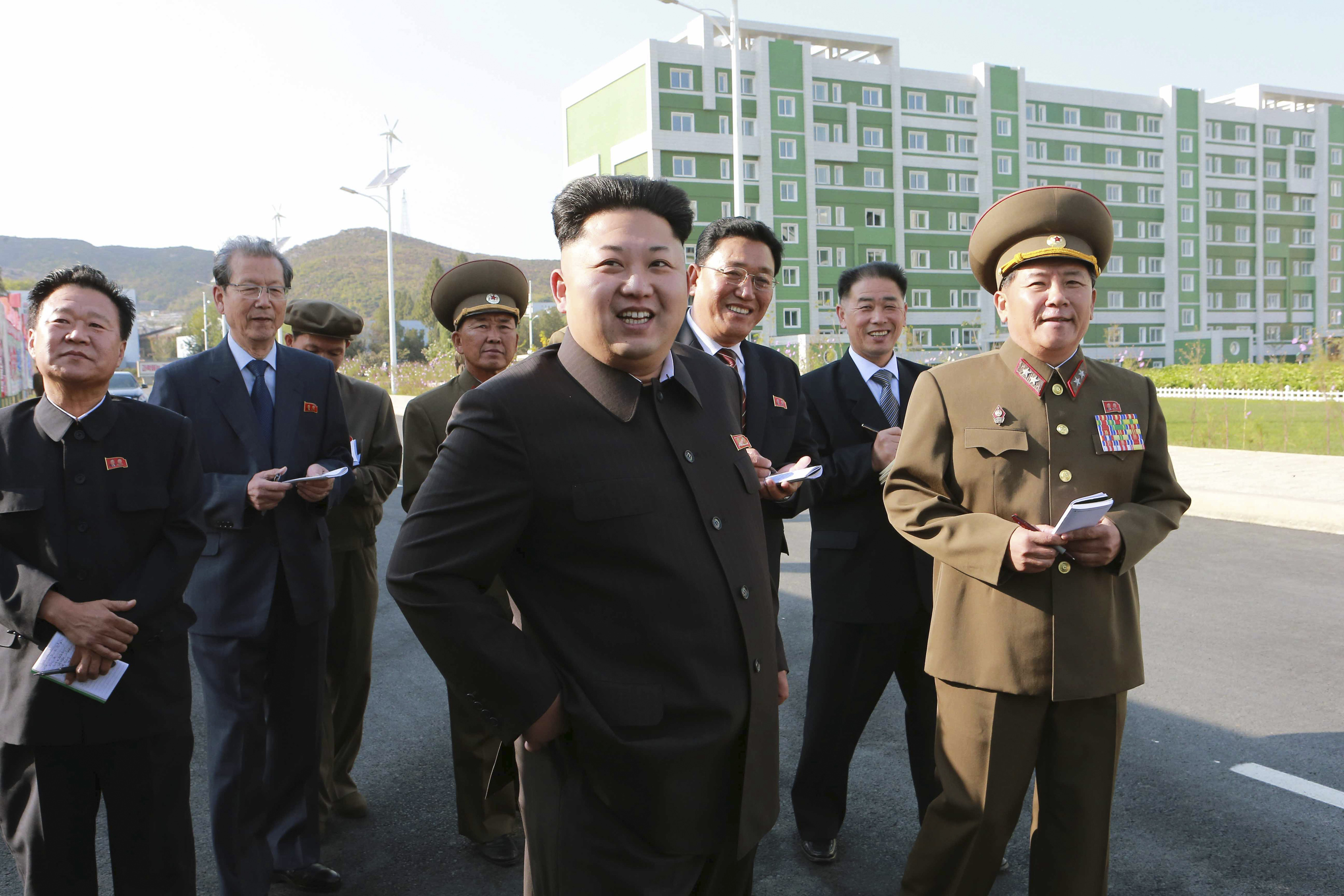 North Korean leader Kim Jong Un gives field guidance at the newly built Wisong Scientists Residential District in Pyongyang, in 2014.