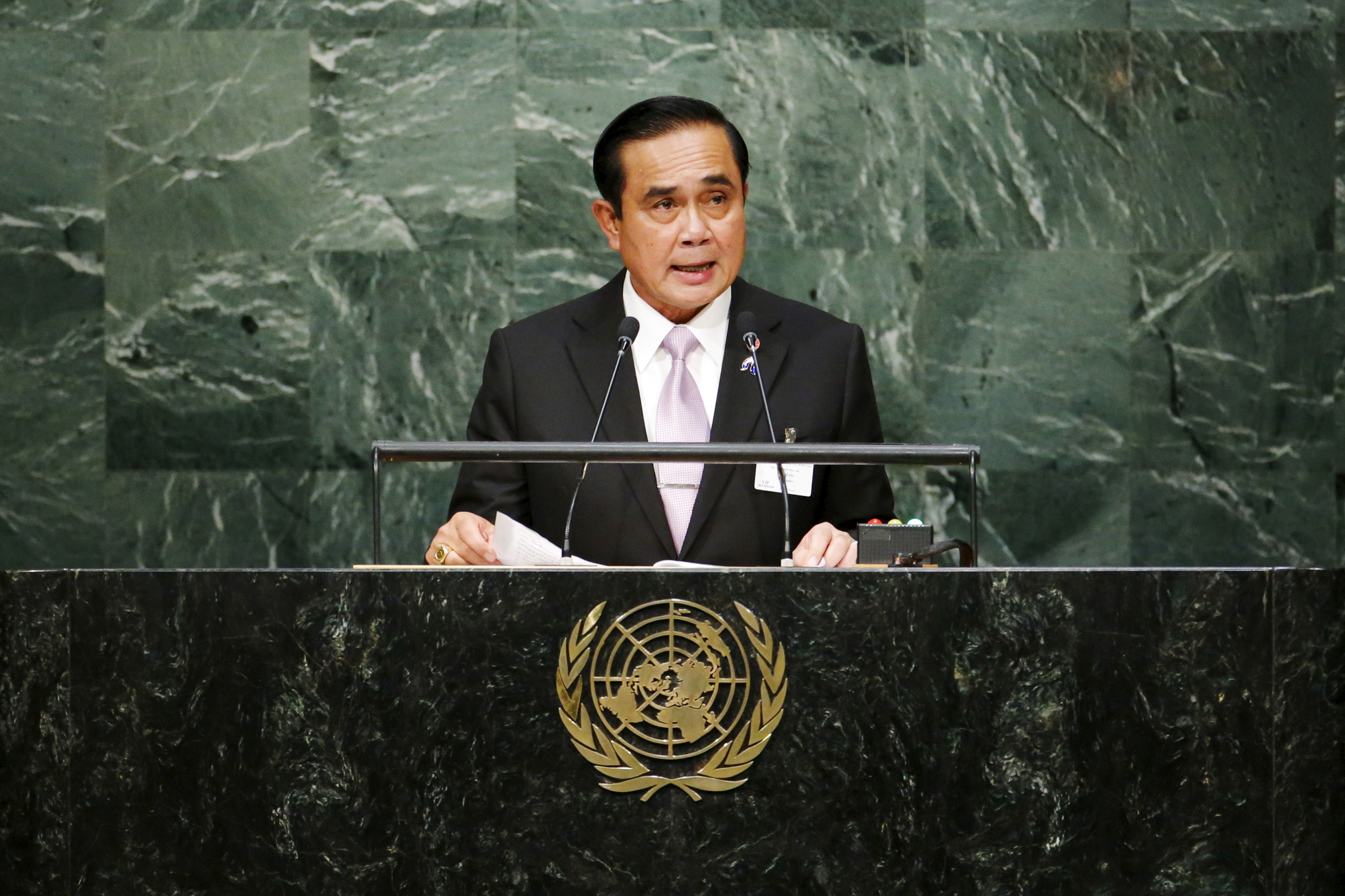 Thailand's Prime Minister Prayuth Chan-ocha speaks before attendees during the 70th session of the U.N. General Assembly in New York City on Sept. 29, 2015