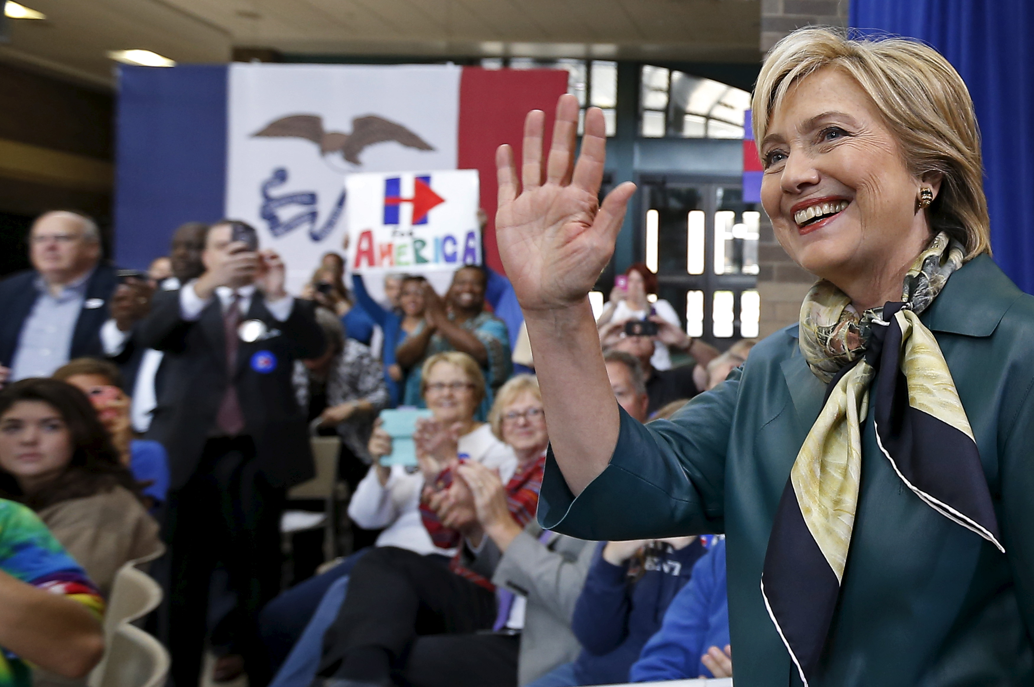 U.S. Democratic presidential candidate Hillary Clinton arrives at a campaign event in Davenport, Iowa Oct. 6, 2015