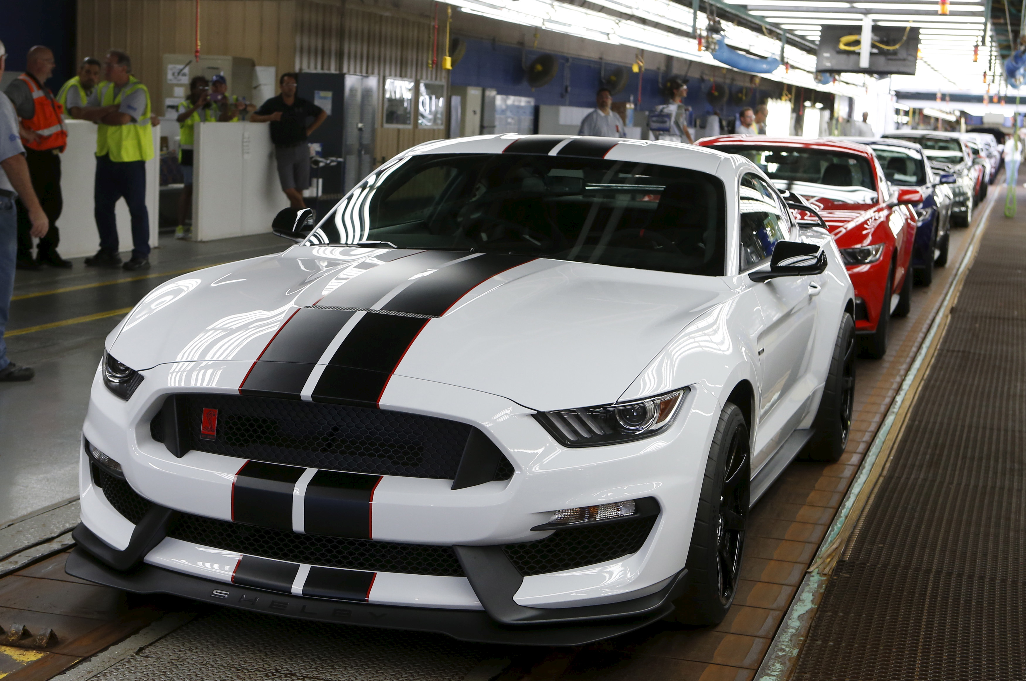 A Mustang sits on the final production line at the Ford Motor Flat Rock Assembly Plant in Flat Rock, Mich., on Aug. 20, 2015