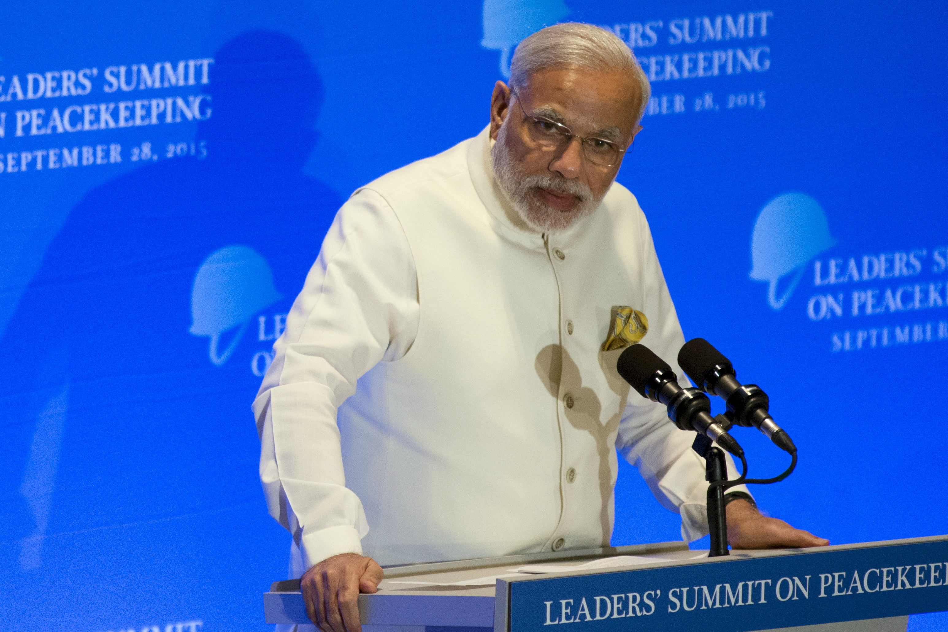 India's Prime Minister Narendra Modi delivers remarks during a Leaders' Summit on Peacekeeping to coincide with the U.N. General Assembly at the U.N. in New York City on Sept. 28, 2015