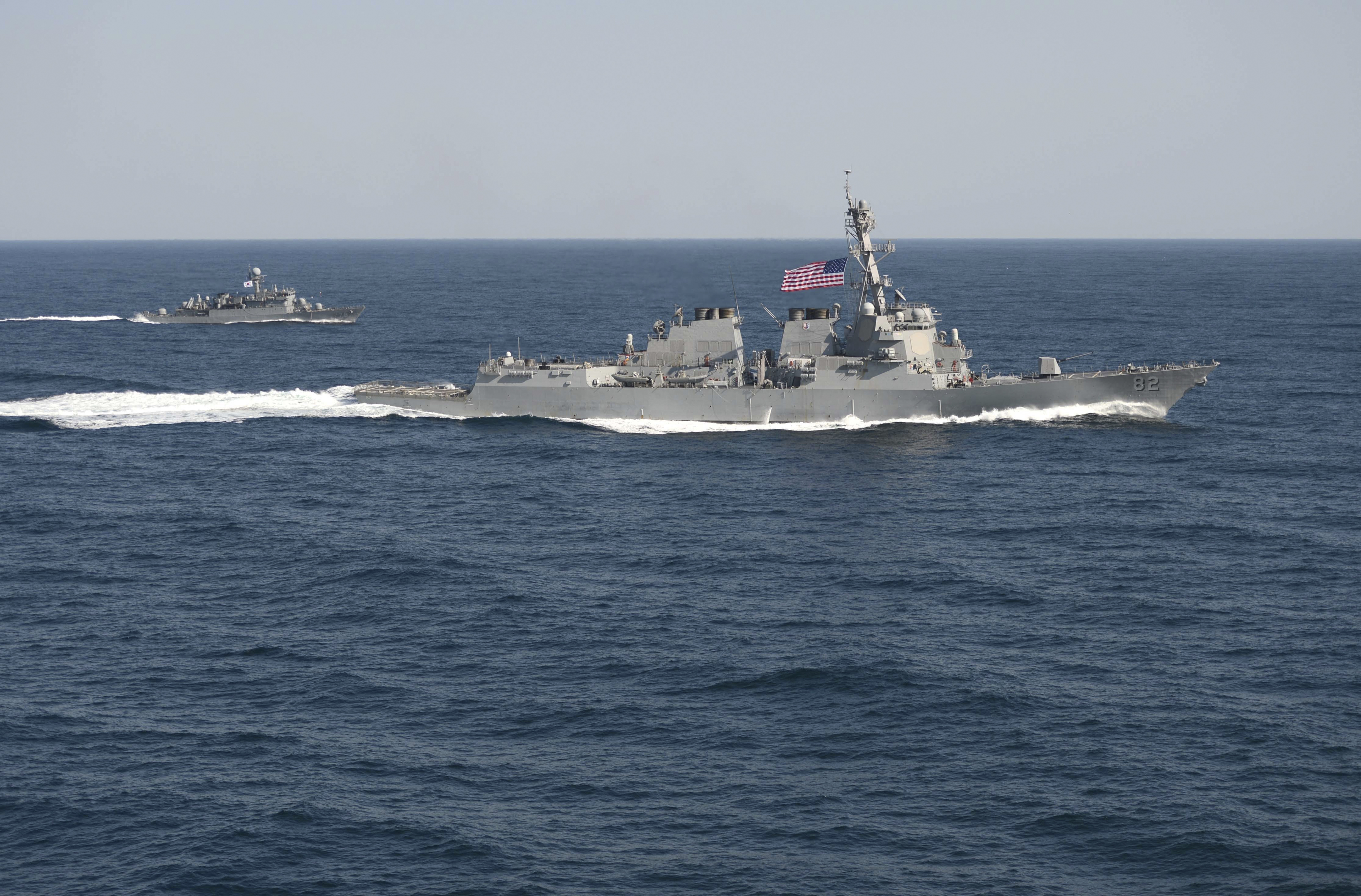 USS Lassen in waters east of the Korean Peninsula, in this March 12, 2015, handout photo provided by the U.S. Navy