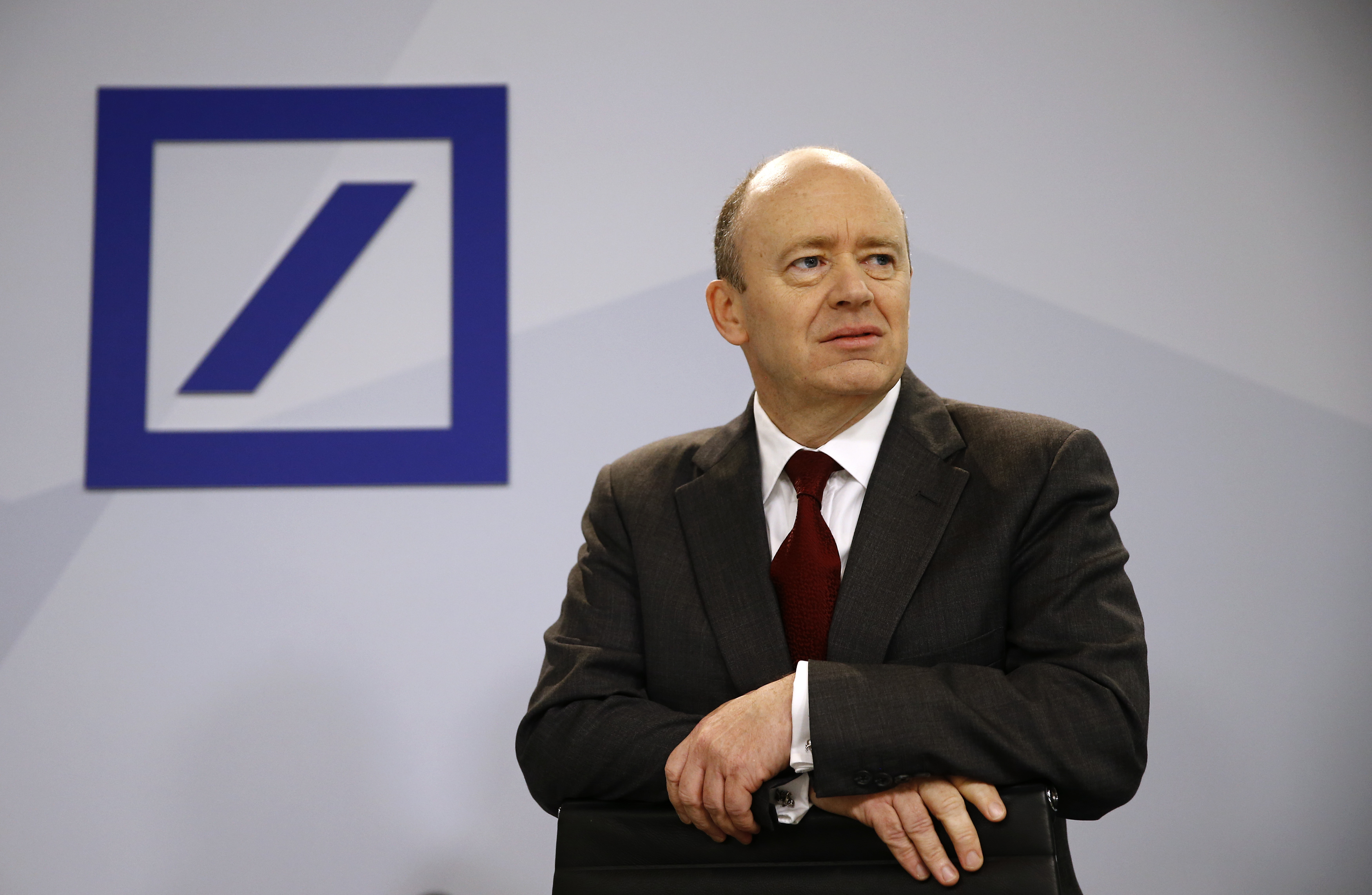 Deutsche Bank new Chief Executive John Cryan arrives for a news conference in Frankfurt October 29, 2015.