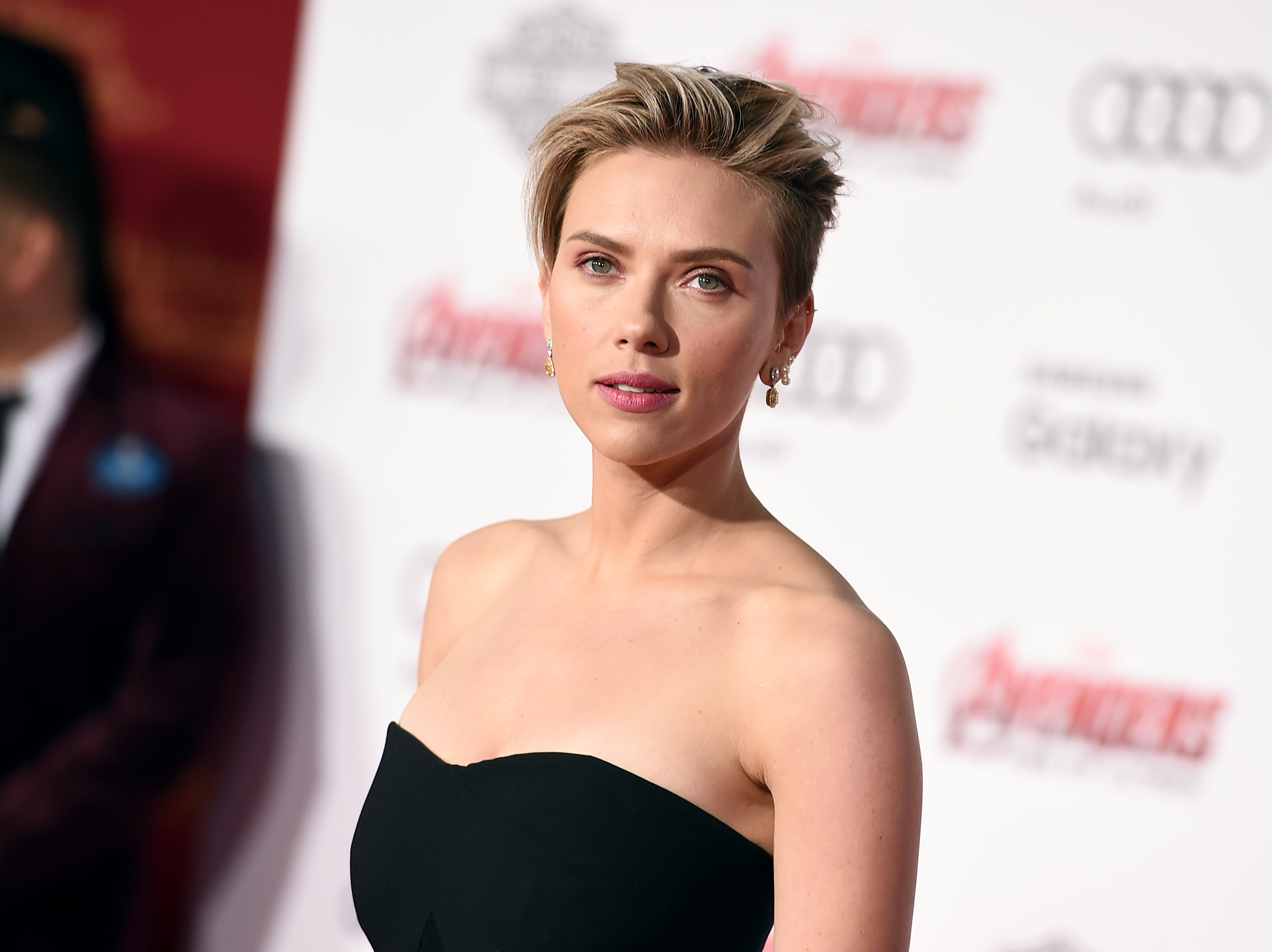 Scarlett Johansson arrives at the Los Angeles premiere of  Avengers: Age Of Ultron.  on  April 13, 2015.