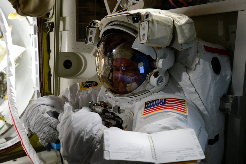Day 212 Getting my game face on for #spacewalk Thanks for sticking w me #GoodNight from @space_station! #YearInSpace  - via Twitter on Oct. 26, 2015