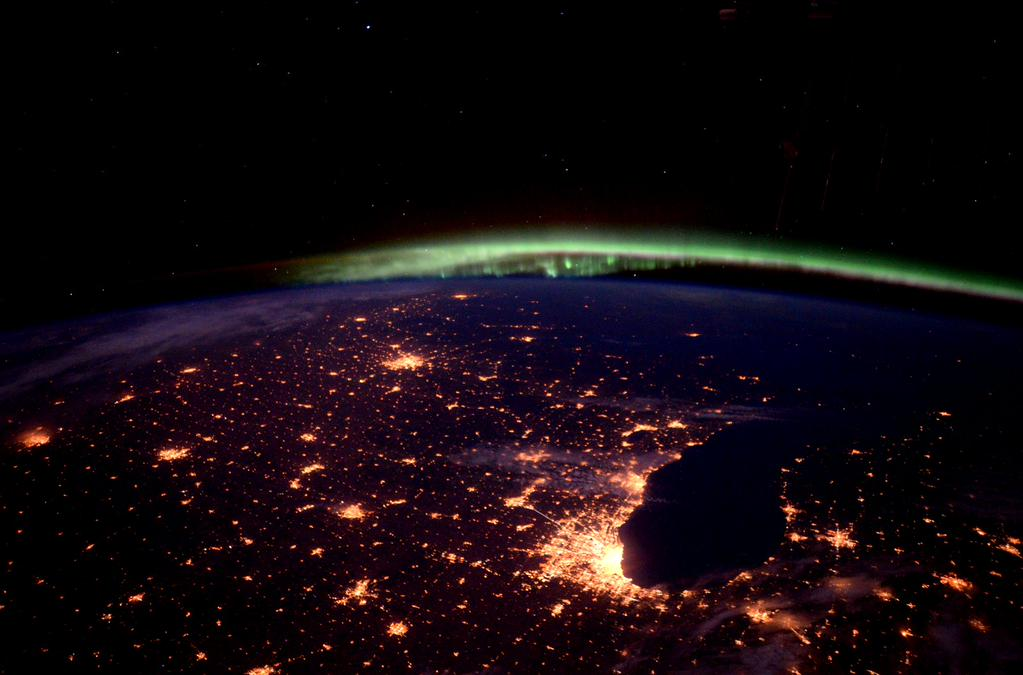 #Aurora and all that jazz over #Chicago city lights. #YearInSpace  - via Twitter on Oct. 2, 2015