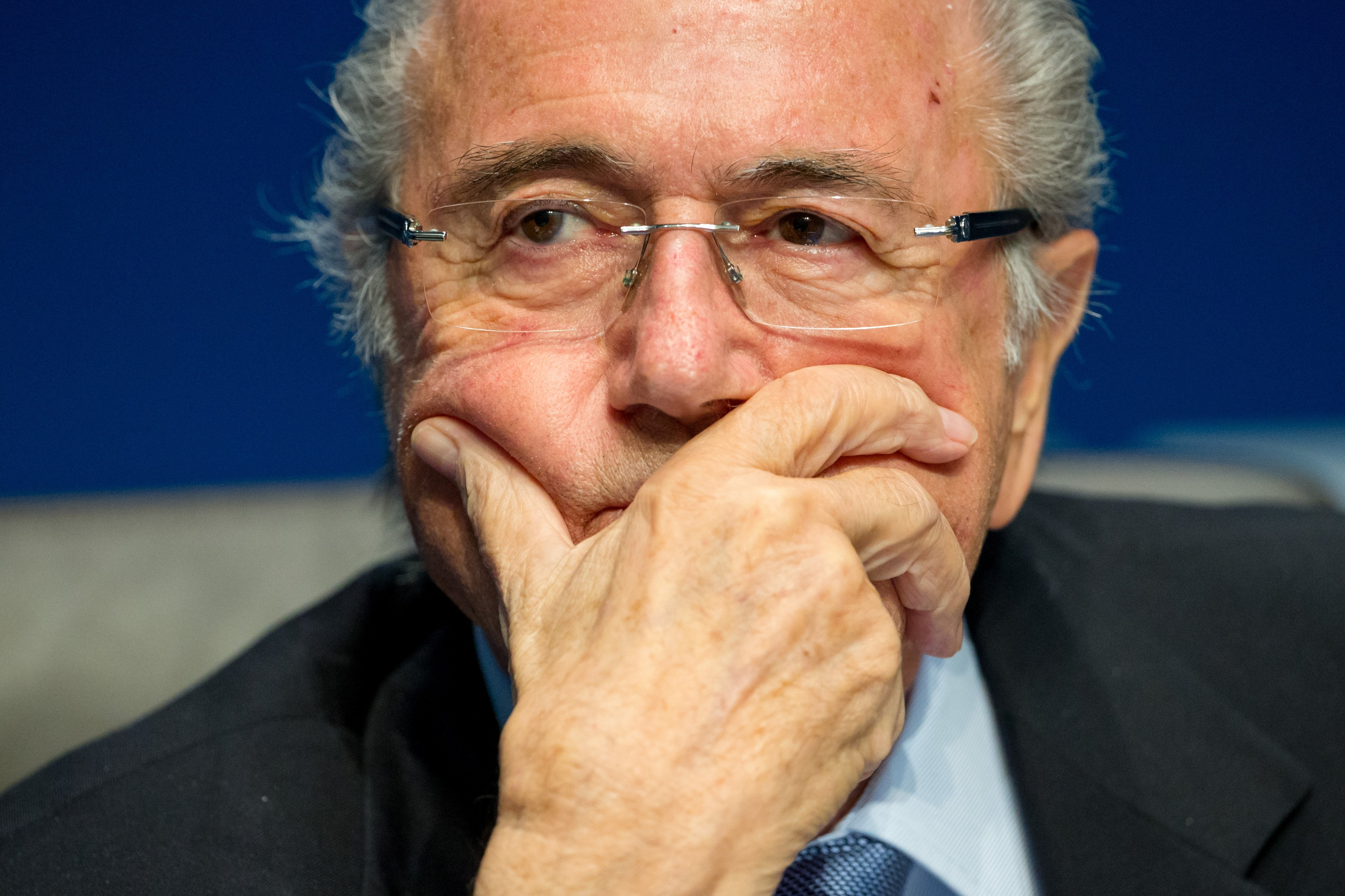 Sepp Blatter looks on during a press conference at the end of the FIFA Executive Comitee meeting at the FIFA headquarters in Zurich, Switzerland on March 20, 2015.
