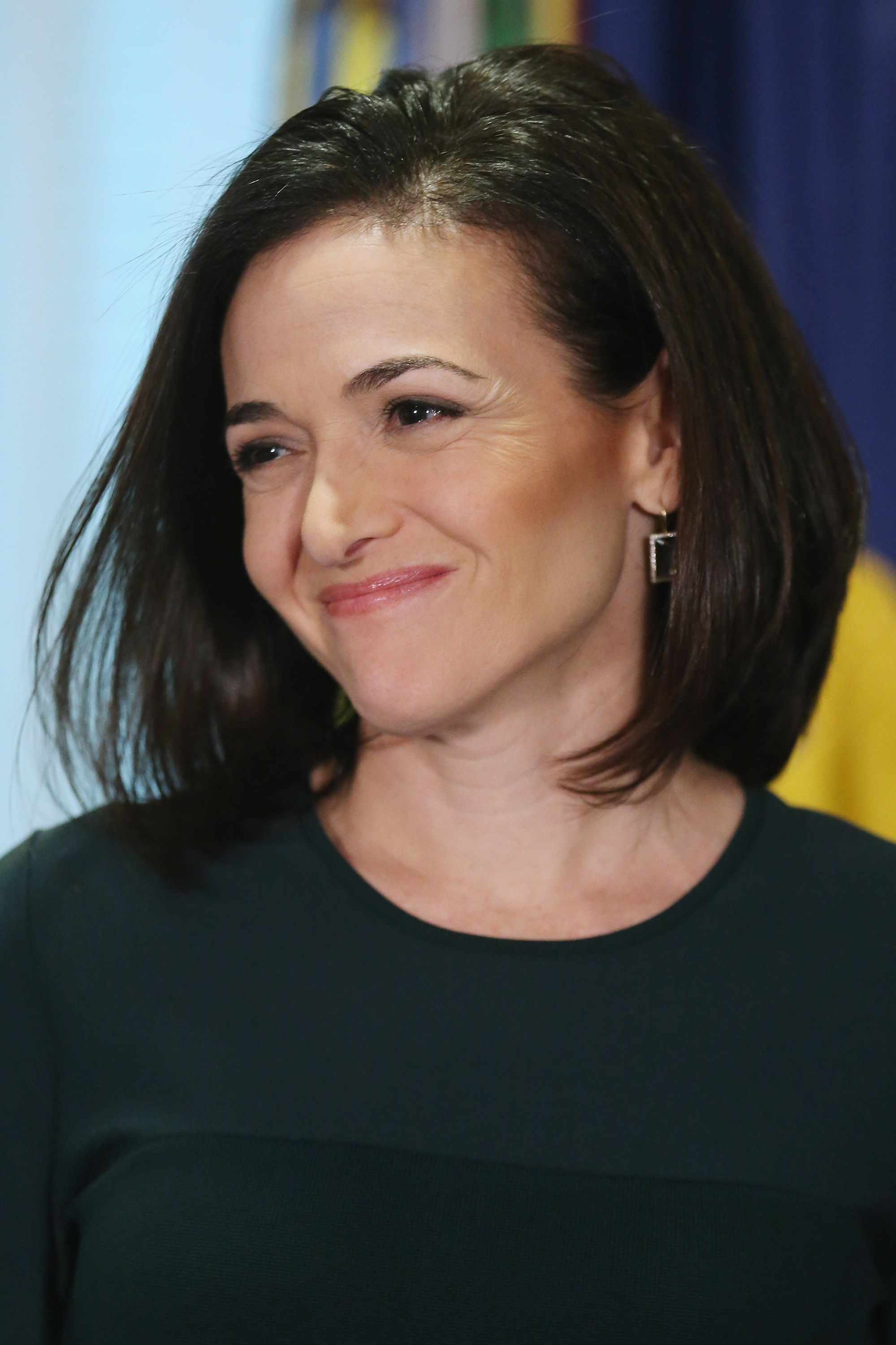 Sheryl Sandberg after hosting a 'Lean In Circle' with female members of the military at the Pentagon in Arlington, Va. on Sept. 21, 2015.