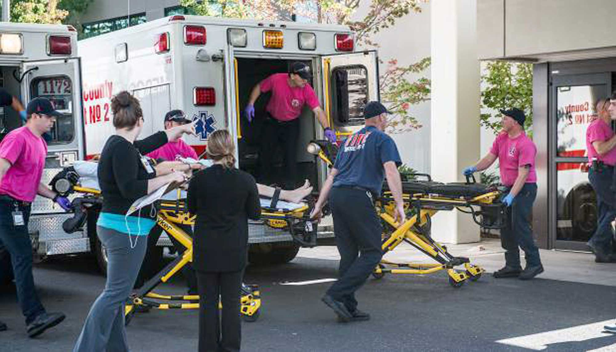 A patient is wheeled into the emergency room at Mercy Medical Center in Roseburg, Ore., following a deadly shooting at Umpqua Community College, in Roseburg,, Oct. 1, 2015.