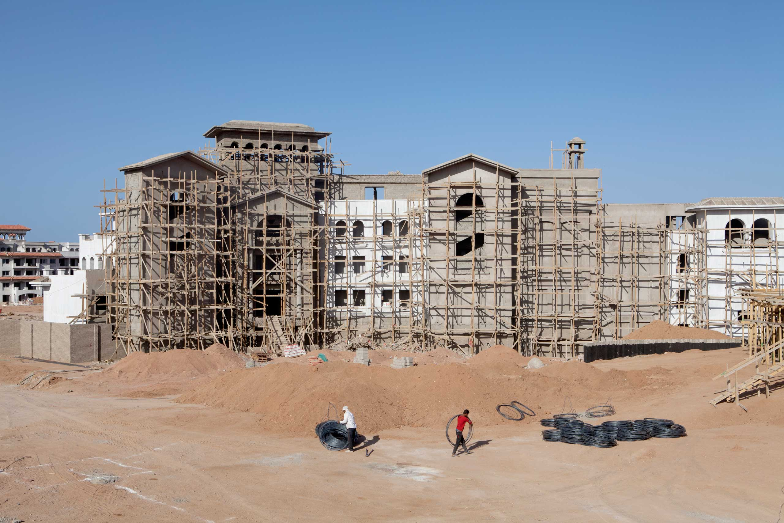 A construction site in in Sharm el Sheikh,  Sinai, March 2015.  Despite an abundance of already available buildings, more is being built.