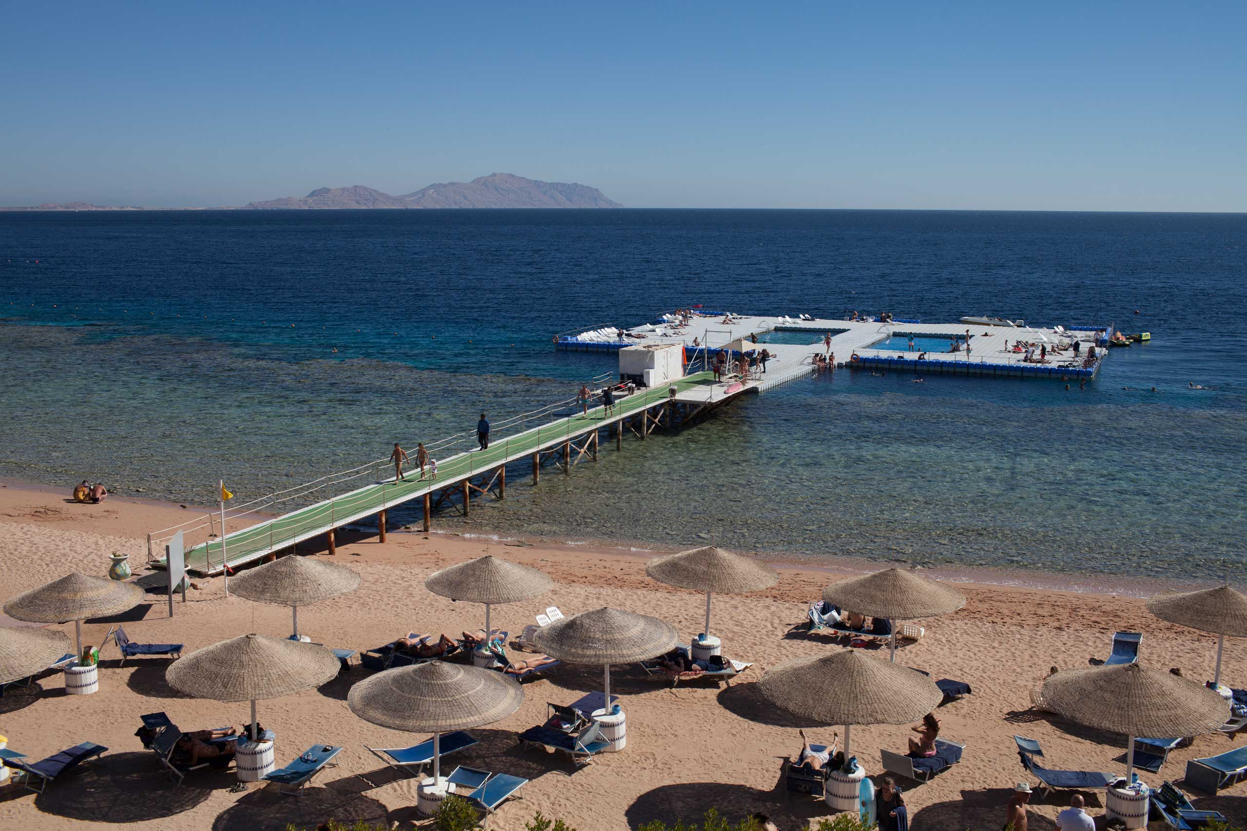 An artificial swimming pool that allows swimmers to enjoy the sea without having mind rocks or corals, in Sharm el Sheikh, Sinai, Jan. 2015.