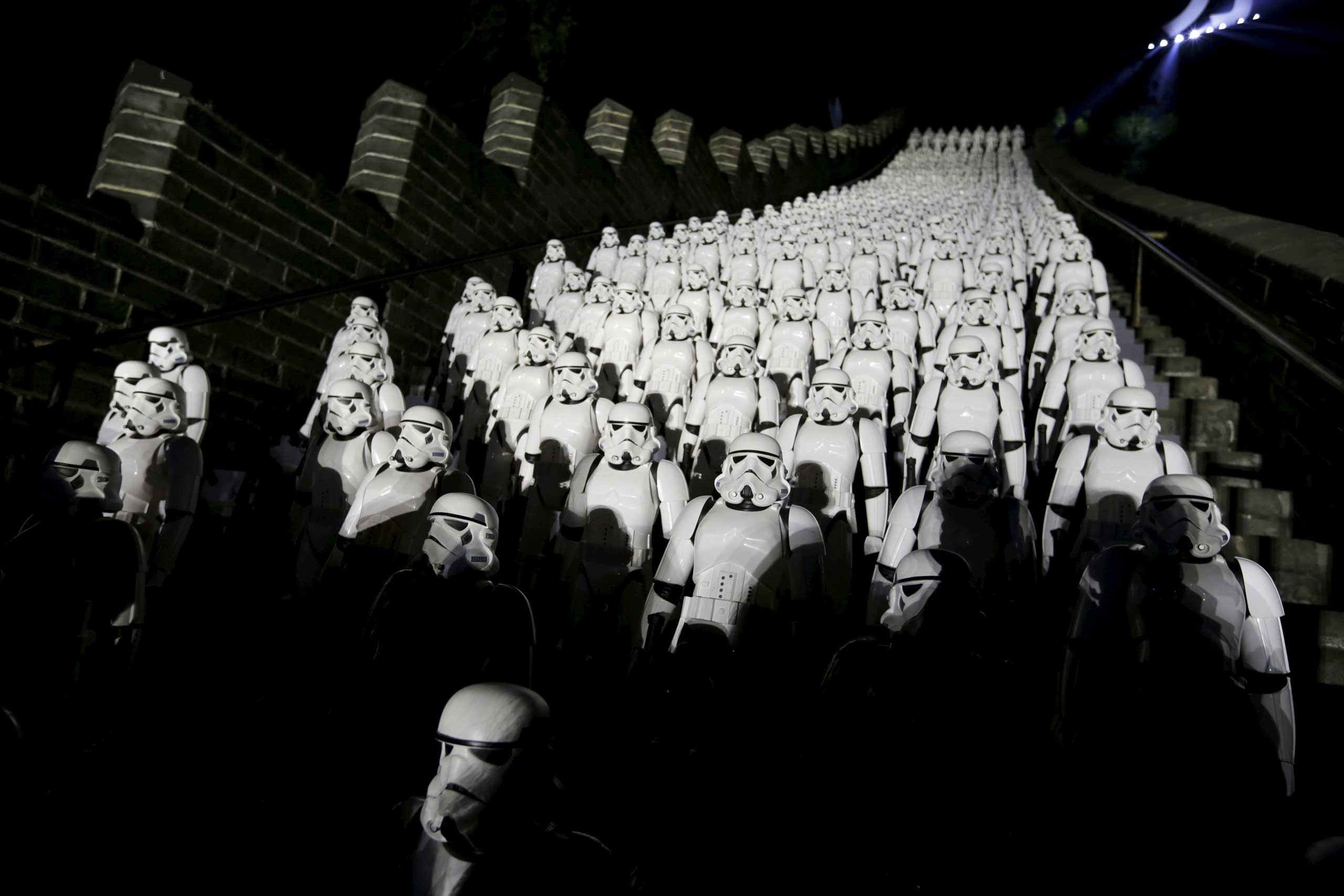 Five hundred replicas of the Stormtroopers characters from  Star Wars  are seen on the steps at the Juyongguan section of the Great Wall of China during a promotional event for  Star Wars: The Force Awakens  film, on the outskirts of Beijing, Oct. 20, 2015.