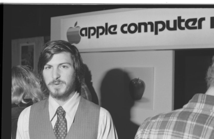 Steve Jobs at the first West Coast Computer Faire in San Francisco on April 16 or 17, 1977.
