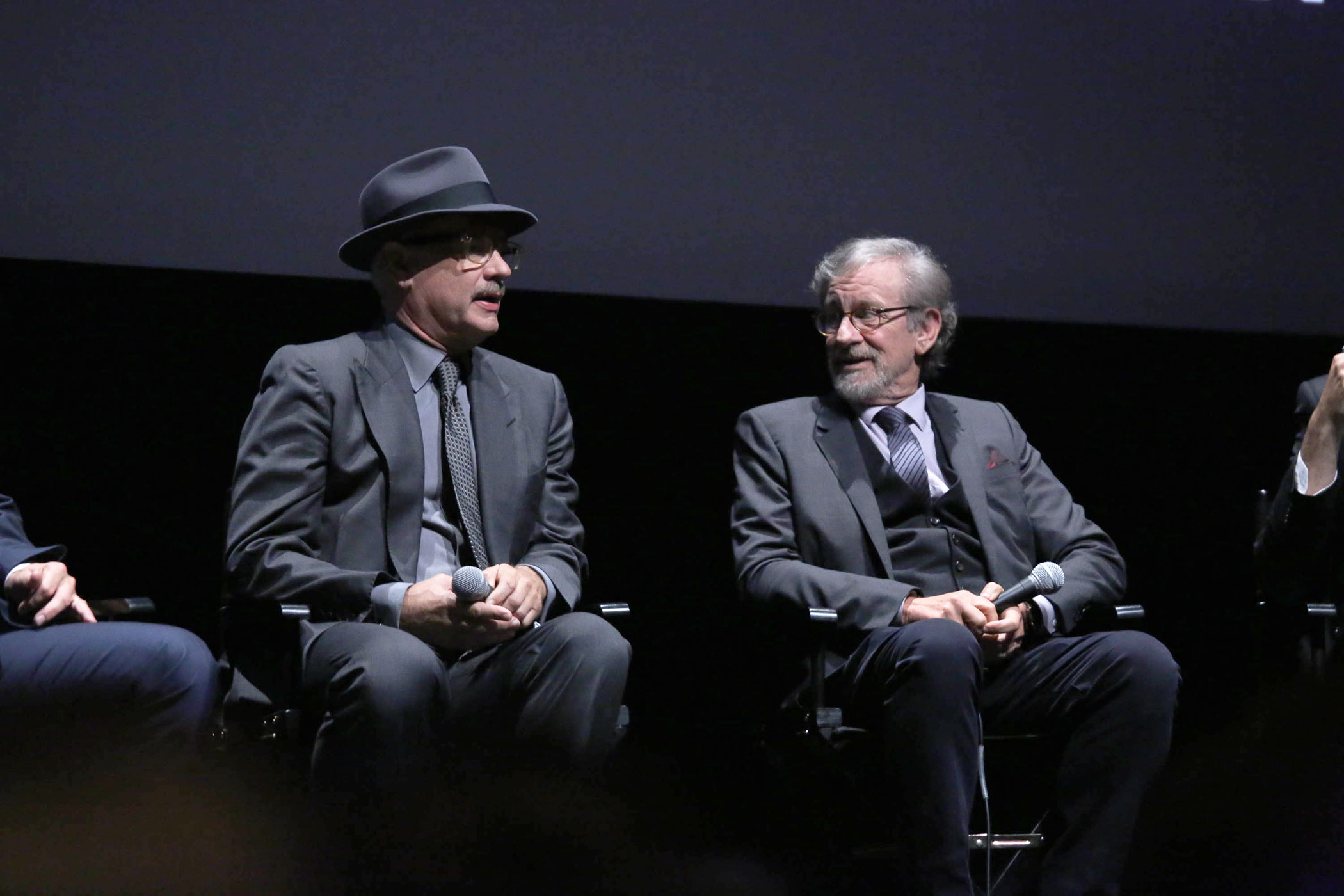 Tom Hanks and director Steven Spielberg attend a Q&A for the film,  Bridge Of Spies  during the 53rd New York Film Festival at Alice Tully Hall, Lincoln Center on Oct. 4, 2015 in New York City.