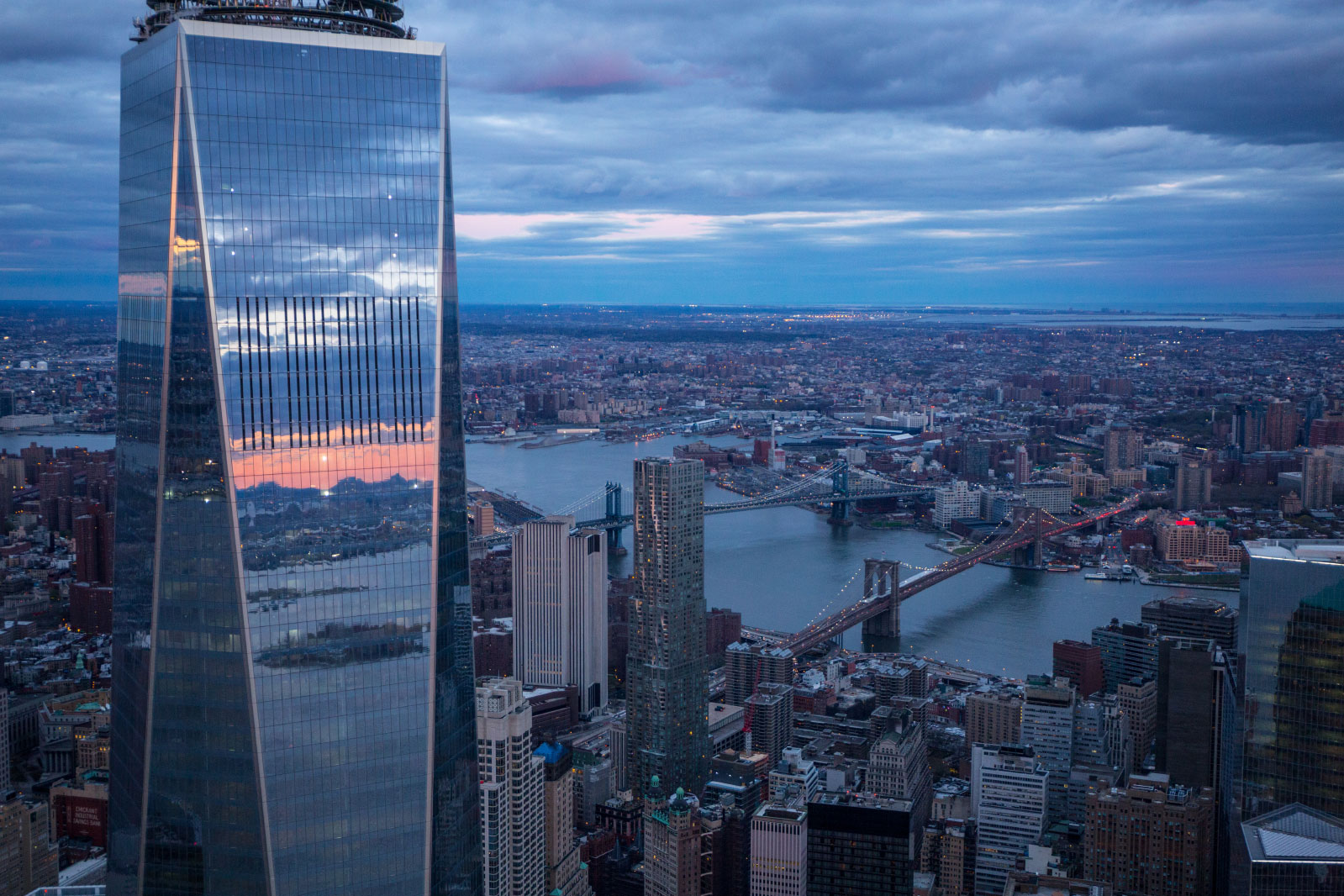 Evening view of One World Trade Center in New York City on a spring evening.