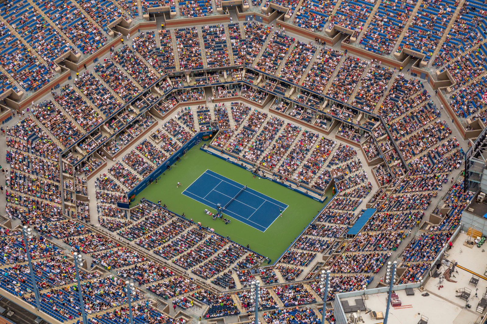 Sam Querrey is serving to Novak Djokovic in the third round of the men's singles at the 2014 U.S. Open.