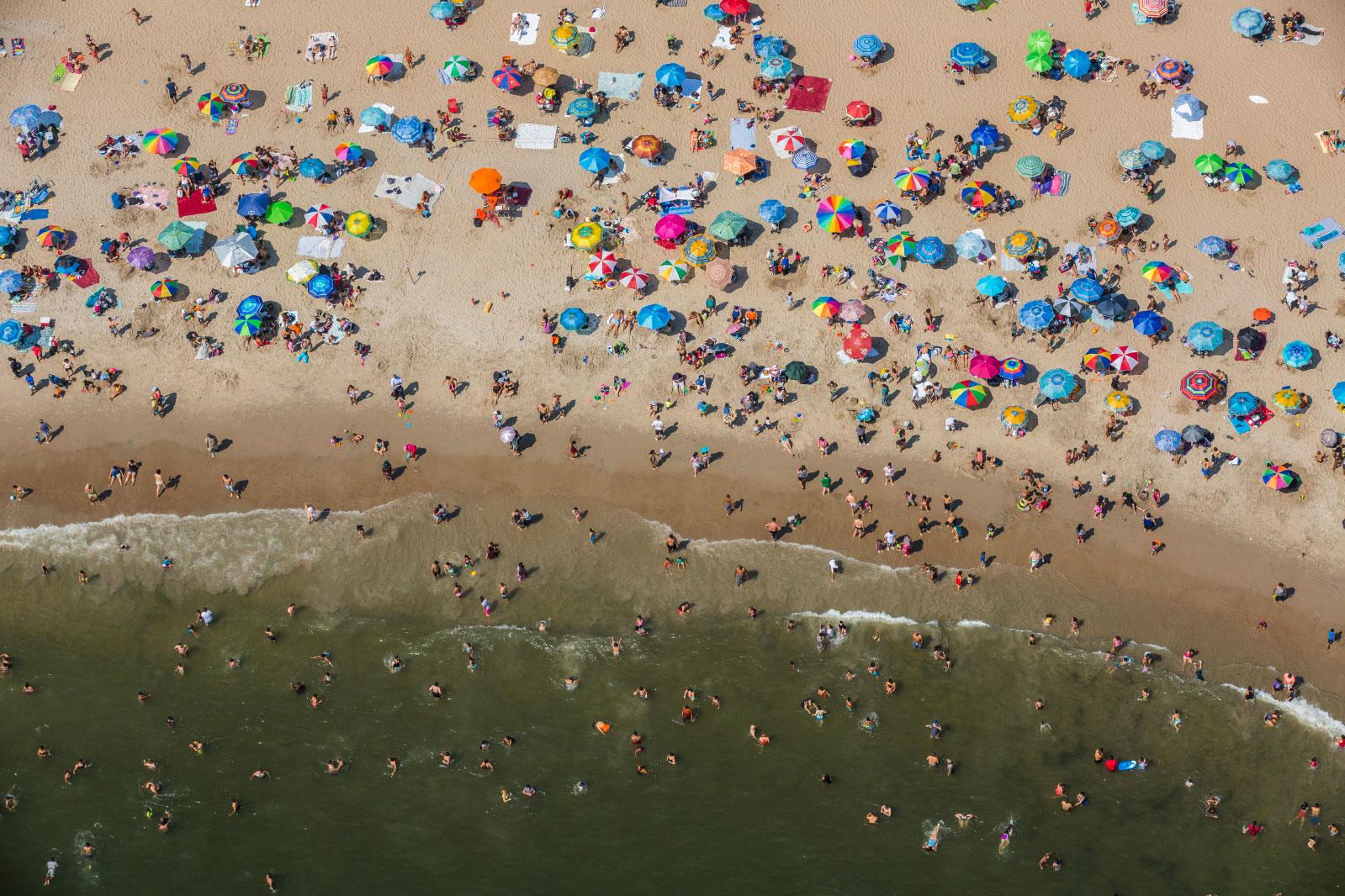 Beachgoers soak in the sun in Coney Island, Brooklyn, on Labor Day Weekend.