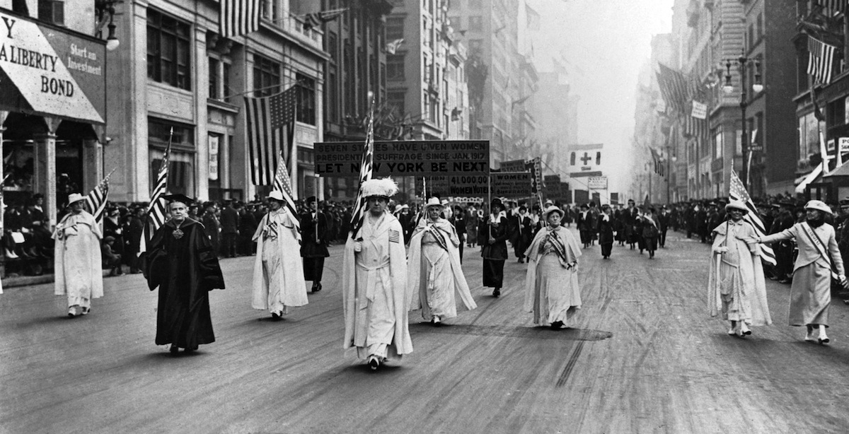 Dr. Anna Shaw and Carrie Chapman Catt, founder of the League of Women Voters, lead an estimated 20,000 supporters in a women's suffrage march on New York's Fifth Ave. in 1915 .